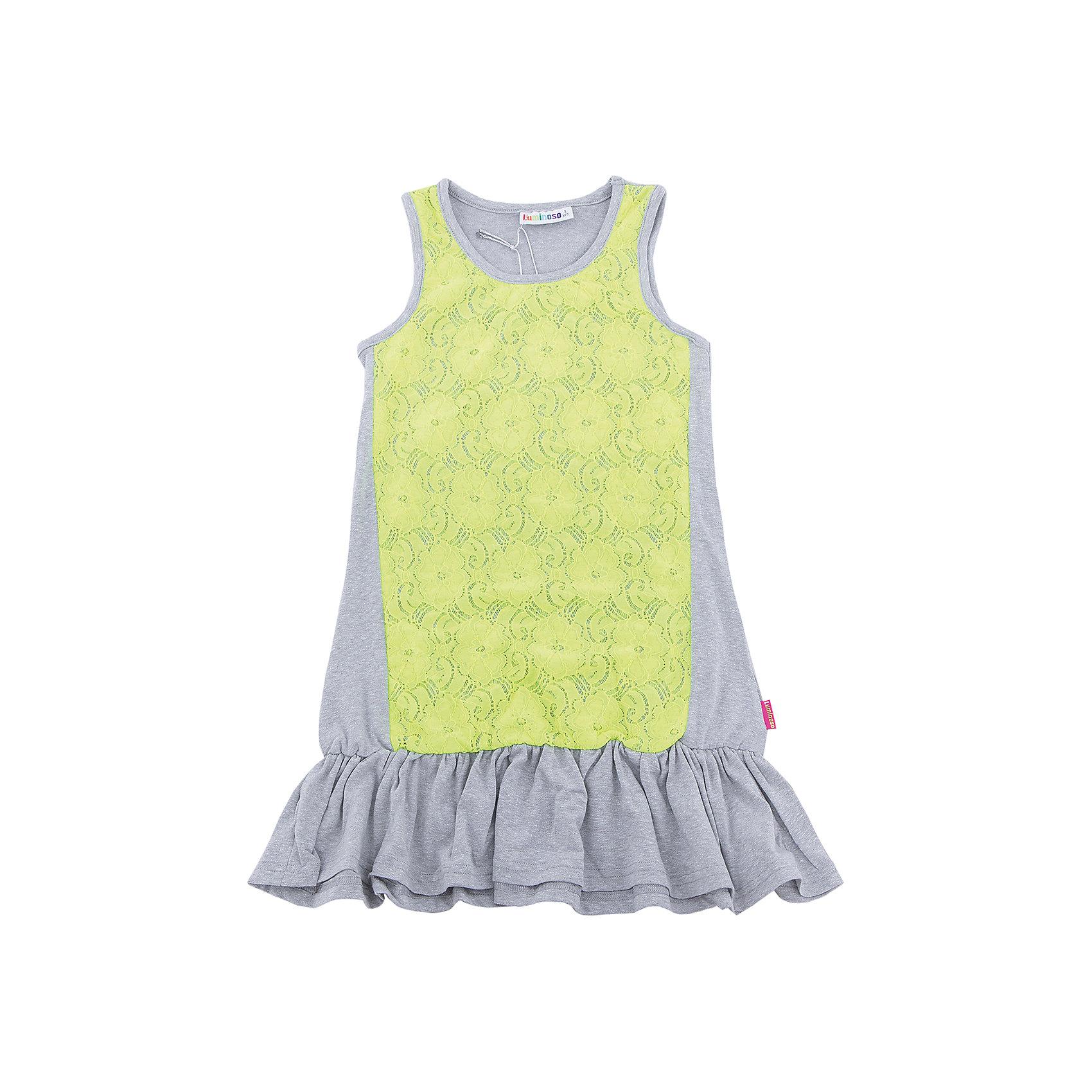 Платье для девочки LuminosoПлатья и сарафаны<br>Трикотажное платье для девочки декорированное контрастным кружевом и воланом по низу изделия. Свободный крой.<br>Состав:<br>48%полиэстер 36%вискоза  11.7%хлопок 4.3%эластан<br><br>Ширина мм: 236<br>Глубина мм: 16<br>Высота мм: 184<br>Вес г: 177<br>Цвет: разноцветный<br>Возраст от месяцев: 96<br>Возраст до месяцев: 108<br>Пол: Женский<br>Возраст: Детский<br>Размер: 134,140,146,152,158,164<br>SKU: 5413654