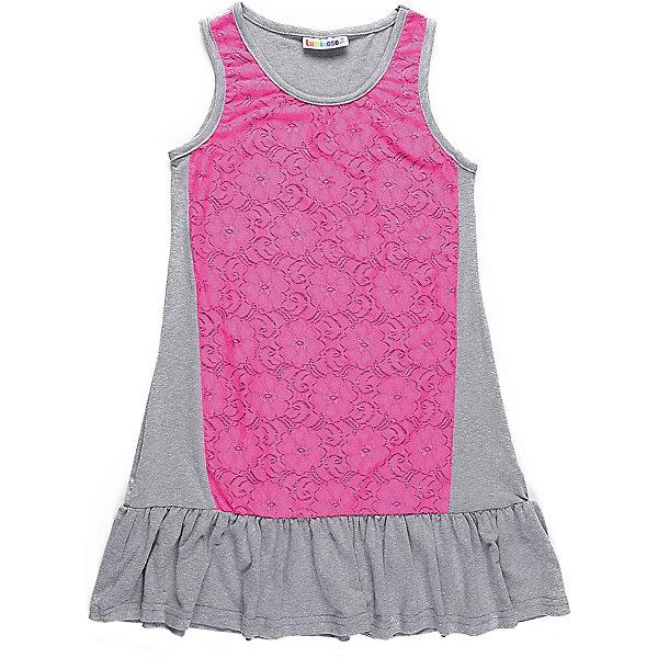 Платье для девочки LuminosoПлатья и сарафаны<br>Трикотажное платье для девочки декорированное контрастным кружевом и воланом по низу изделия. Свободный крой.<br>Состав:<br>48%полиэстер 36%вискоза  11.7%хлопок 4.3%эластан<br><br>Ширина мм: 236<br>Глубина мм: 16<br>Высота мм: 184<br>Вес г: 177<br>Цвет: розовый<br>Возраст от месяцев: 108<br>Возраст до месяцев: 120<br>Пол: Женский<br>Возраст: Детский<br>Размер: 140,134,164,158,152,146<br>SKU: 5413661