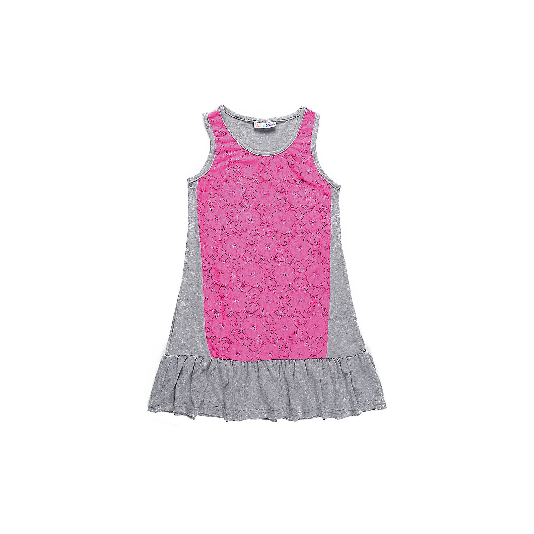 Платье для девочки LuminosoПлатья и сарафаны<br>Трикотажное платье для девочки декорированное контрастным кружевом и воланом по низу изделия. Свободный крой.<br>Состав:<br>48%полиэстер 36%вискоза  11.7%хлопок 4.3%эластан<br><br>Ширина мм: 236<br>Глубина мм: 16<br>Высота мм: 184<br>Вес г: 177<br>Цвет: розовый<br>Возраст от месяцев: 96<br>Возраст до месяцев: 108<br>Пол: Женский<br>Возраст: Детский<br>Размер: 134,140,146,152,158,164<br>SKU: 5413661