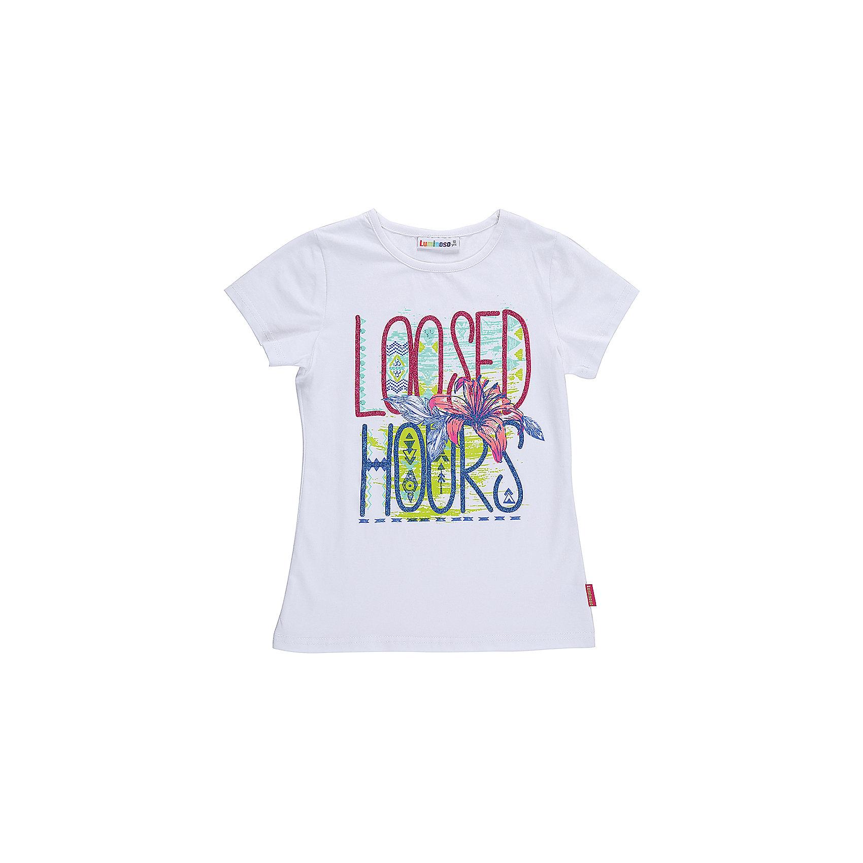 Футболка для девочки LuminosoФутболки, поло и топы<br>Стильная футболка из трикотажной ткани для девочки с коротким рукавом. Декорирована ярким принтом. Приталенный крой.<br>Состав:<br>95%хлопок 5%эластан<br><br>Ширина мм: 199<br>Глубина мм: 10<br>Высота мм: 161<br>Вес г: 151<br>Цвет: белый<br>Возраст от месяцев: 144<br>Возраст до месяцев: 156<br>Пол: Женский<br>Возраст: Детский<br>Размер: 158,164,134,140,146,152<br>SKU: 5413689