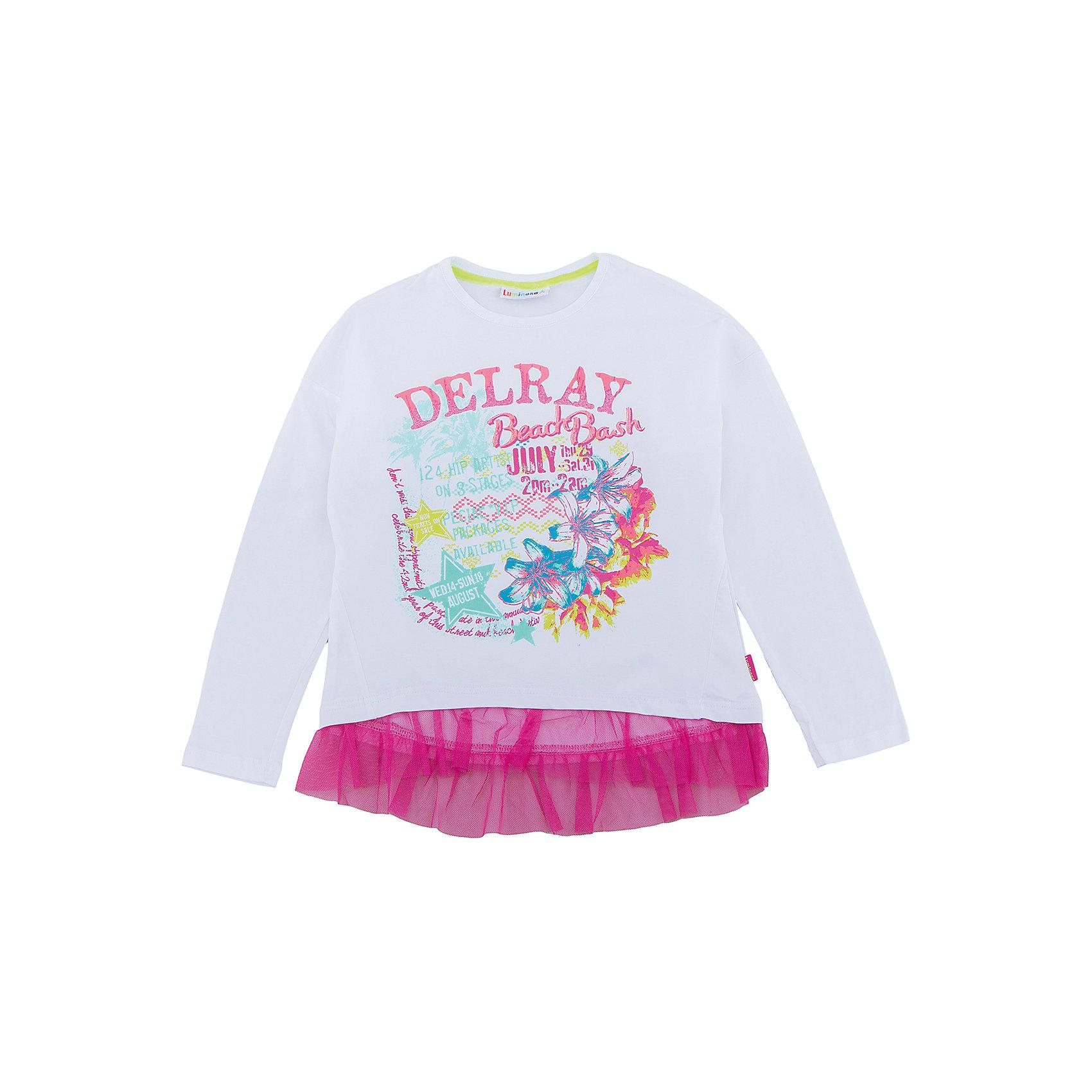 Футболка для девочки LuminosoСтильная футболка  из трикотажной, мягкой ткани для девочки с длинным рукавом. Декорирована ярким принтом и кружевом по низу изделия.<br>Состав:<br>95%хлопок 5%эластан<br><br>Ширина мм: 199<br>Глубина мм: 10<br>Высота мм: 161<br>Вес г: 151<br>Цвет: белый<br>Возраст от месяцев: 96<br>Возраст до месяцев: 108<br>Пол: Женский<br>Возраст: Детский<br>Размер: 134,140,146,152,158,164<br>SKU: 5413696