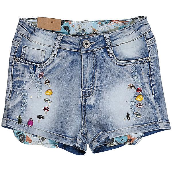Шорты джинсовые для девочки LuminosoДжинсовая одежда<br>Джинсовые шорты для девочки Декорированые крупными стразами. Застегиваются на молнию и пуговицу.  В боковой части пояса находятся вшитые эластичные ленты, регулирующие посадку по талии.<br>Состав:<br>98%хлопок 2%эластан<br><br>Ширина мм: 191<br>Глубина мм: 10<br>Высота мм: 175<br>Вес г: 273<br>Цвет: голубой<br>Возраст от месяцев: 108<br>Возраст до месяцев: 120<br>Пол: Женский<br>Возраст: Детский<br>Размер: 164,158,152,146,140,134<br>SKU: 5413739