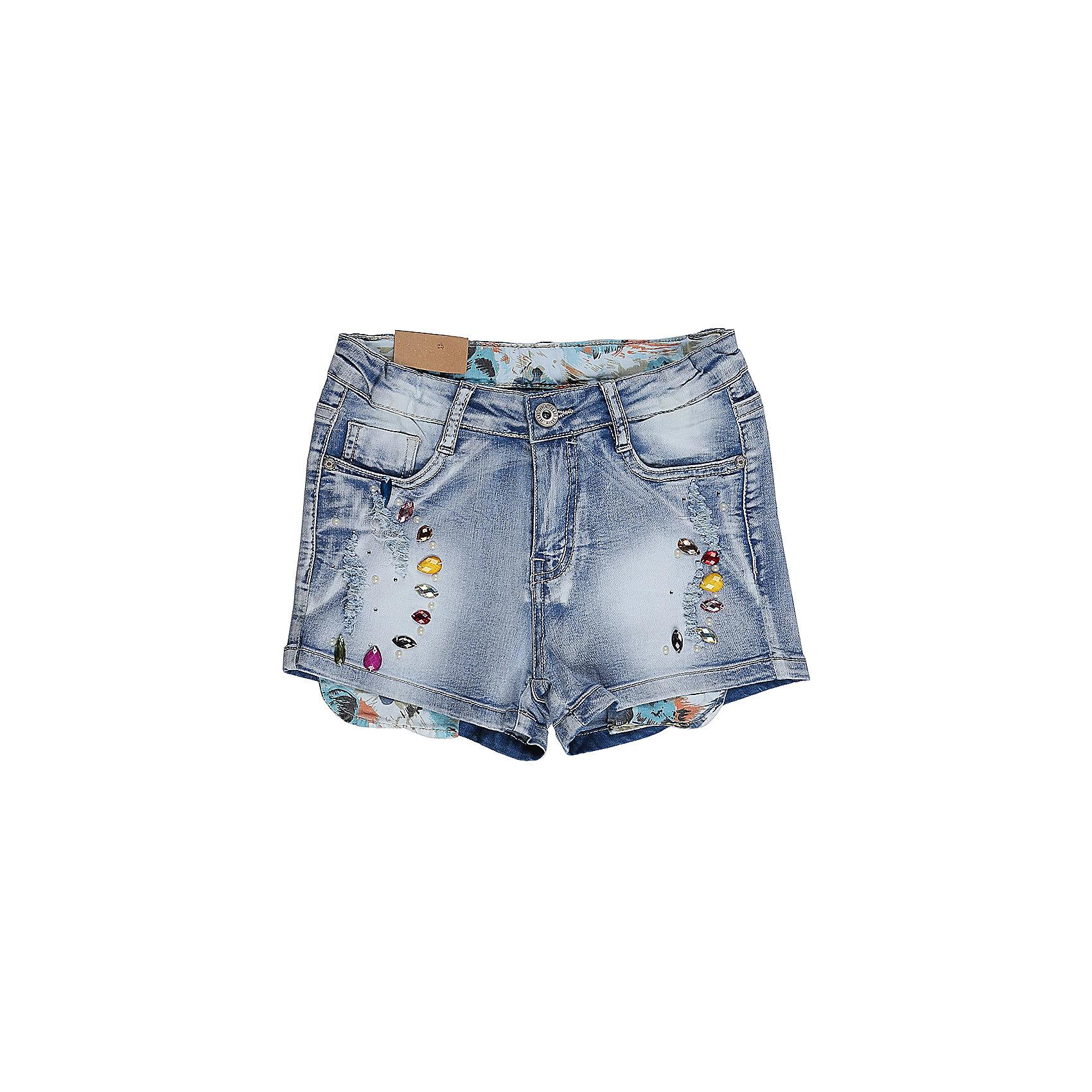 Шорты джинсовые для девочки LuminosoДжинсовая одежда<br>Джинсовые шорты для девочки Декорированые крупными стразами. Застегиваются на молнию и пуговицу.  В боковой части пояса находятся вшитые эластичные ленты, регулирующие посадку по талии.<br>Состав:<br>98%хлопок 2%эластан<br><br>Ширина мм: 191<br>Глубина мм: 10<br>Высота мм: 175<br>Вес г: 273<br>Цвет: голубой<br>Возраст от месяцев: 96<br>Возраст до месяцев: 108<br>Пол: Женский<br>Возраст: Детский<br>Размер: 134,140,146,152,158,164<br>SKU: 5413739