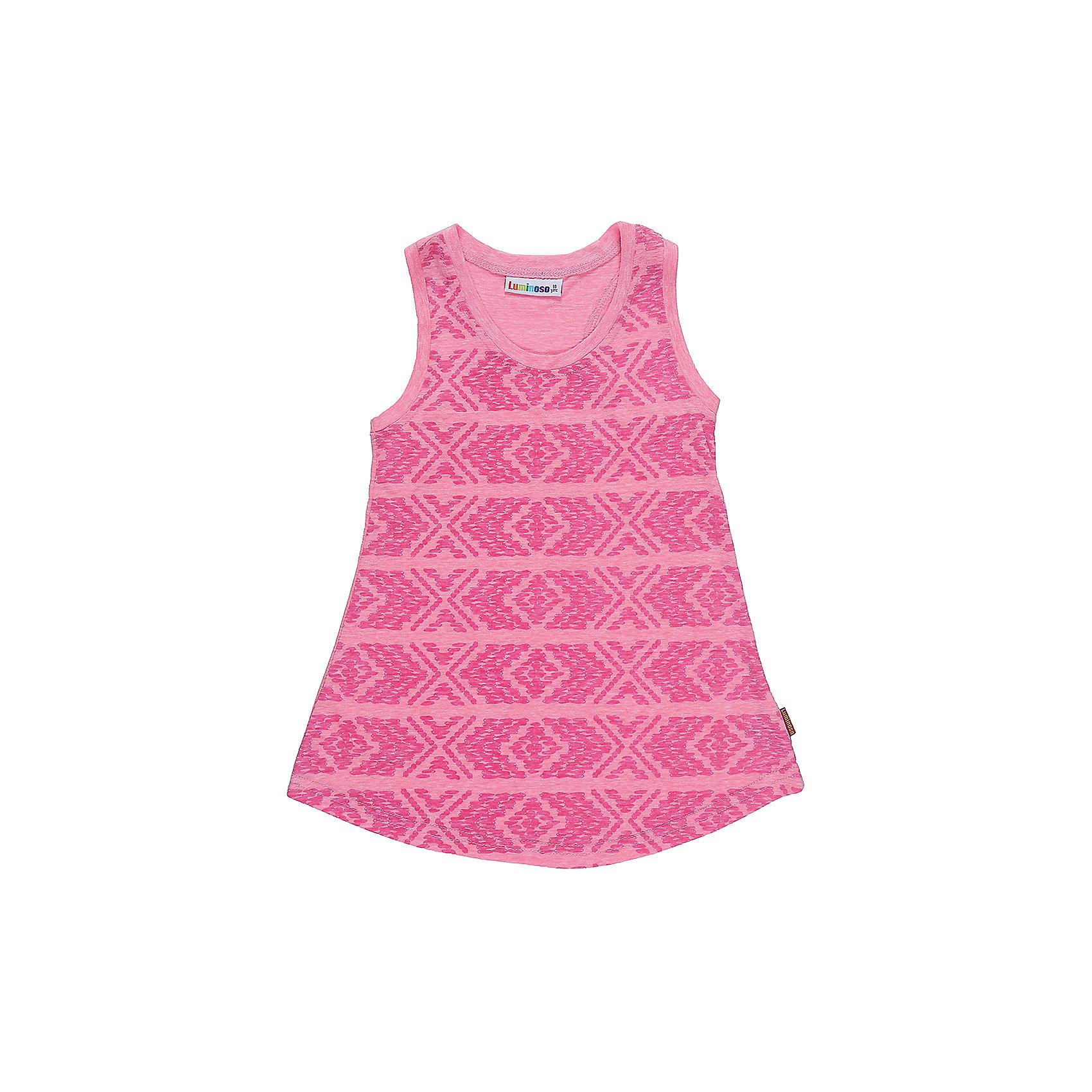 Майка для девочки LuminosoФутболки, поло и топы<br>Трикотажная майка-топ для девочки из принтованной ткани. Приталенный крой.<br>Состав:<br>45%вискоза 15%хлопок 40%полиэстер<br><br>Ширина мм: 199<br>Глубина мм: 10<br>Высота мм: 161<br>Вес г: 151<br>Цвет: розовый<br>Возраст от месяцев: 96<br>Возраст до месяцев: 108<br>Пол: Женский<br>Возраст: Детский<br>Размер: 134,140,146,152,158,164<br>SKU: 5413746