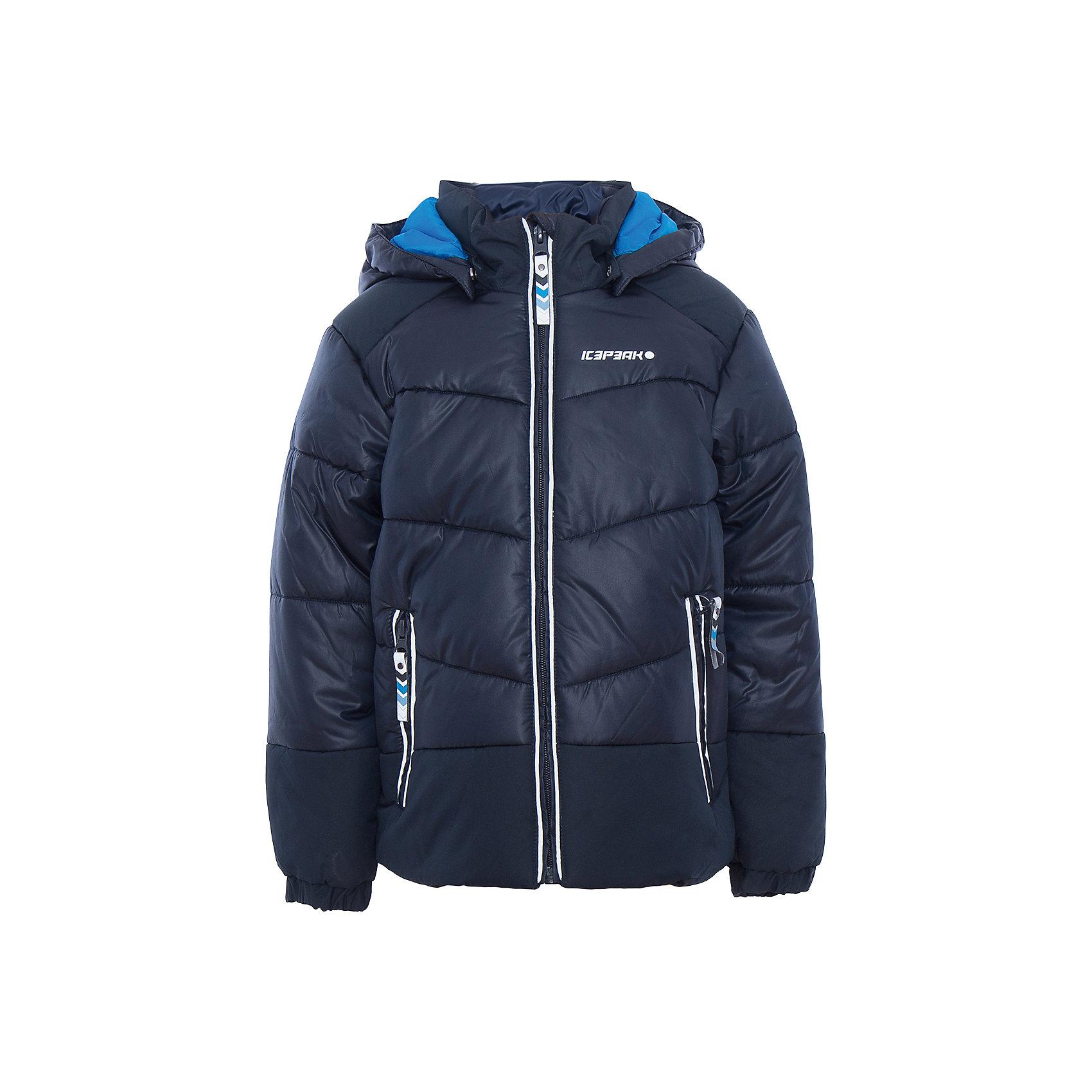 Куртка для мальчика ICEPEAKОдежда<br>Куртка для мальчика от известного бренда ICEPEAK.<br>Куртка с отстегивающимся капюшоном, капюшон с искусственным мехом, утяжка в нижней части куртки, утепленные и мягкие боковые карманы на молнии, на концах рукава эластичные резинки, светоотражающие элементы, искусственный утеплитель Finnwad, утепление 240/240 гр., рекомендуемый температурный режим до -20 град.<br>Технологии: Water repellent; Children's safety; Reflectors<br>Состав:<br>100% полиэстер<br><br>Ширина мм: 356<br>Глубина мм: 10<br>Высота мм: 245<br>Вес г: 519<br>Цвет: синий<br>Возраст от месяцев: 18<br>Возраст до месяцев: 24<br>Пол: Мужской<br>Возраст: Детский<br>Размер: 92,104,98,122,116,110<br>SKU: 5413882