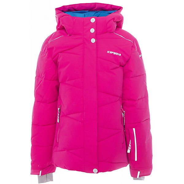 Куртка для девочки ICEPEAKОдежда<br>Куртка для девочки от известного бренда ICEPEAK.<br>Куртка с отстегивающимся капюшоном, молния закрыта планкой, сформированный локоть, утяжка в нижней части куртки, снегозащитная юбка, регулируемый манжет на липучке, эластичный внутренний манжет с прорезью для пальца, утепленные и мягкие боковые карманы на молнии, карман для ski pass, мягкий и теплый внутренний воротник, светоотражающие элементы, утеплитель искусственный пух Finnwad, утепление 190/110 гр., рекомендуемый температурный режим до -25 град.<br>Технологии: Icetech 10 000mm/5000 g; Super soft touch; Children's safety; Reflectors<br>Состав:<br>100% полиэстер<br><br>Ширина мм: 356<br>Глубина мм: 10<br>Высота мм: 245<br>Вес г: 519<br>Цвет: розовый<br>Возраст от месяцев: 84<br>Возраст до месяцев: 96<br>Пол: Женский<br>Возраст: Детский<br>Размер: 140,176,164,152,128<br>SKU: 5413977