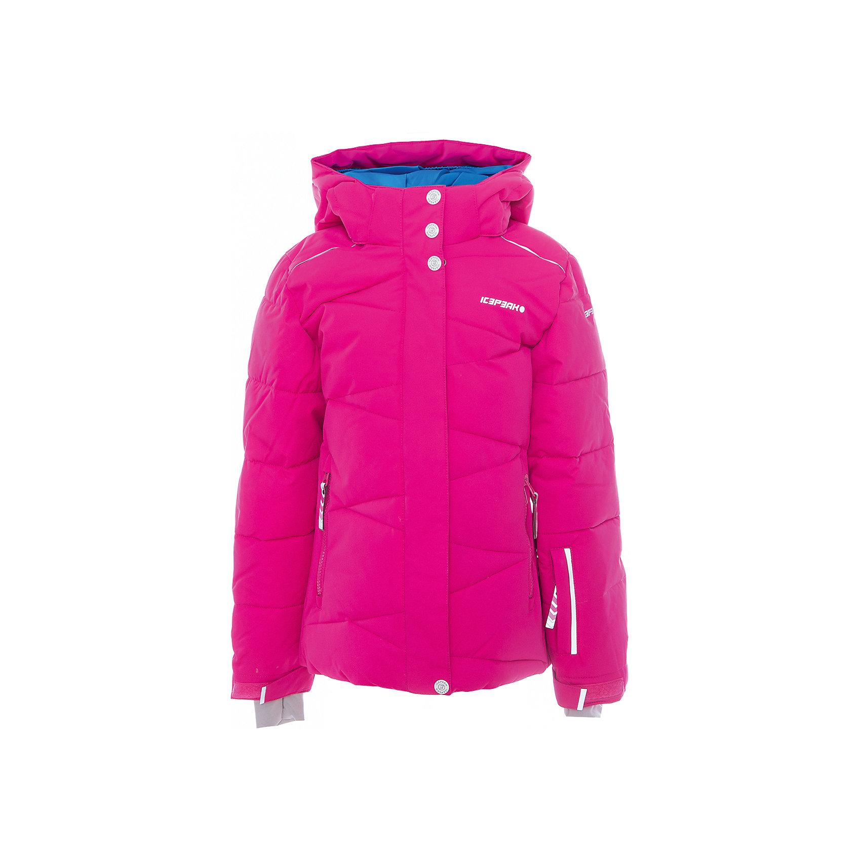 Куртка для девочки ICEPEAKОдежда<br>Куртка для девочки от известного бренда ICEPEAK.<br>Куртка с отстегивающимся капюшоном, молния закрыта планкой, сформированный локоть, утяжка в нижней части куртки, снегозащитная юбка, регулируемый манжет на липучке, эластичный внутренний манжет с прорезью для пальца, утепленные и мягкие боковые карманы на молнии, карман для ski pass, мягкий и теплый внутренний воротник, светоотражающие элементы, утеплитель искусственный пух Finnwad, утепление 190/110 гр., рекомендуемый температурный режим до -25 град.<br>Технологии: Icetech 10 000mm/5000 g; Super soft touch; Children's safety; Reflectors<br>Состав:<br>100% полиэстер<br><br>Ширина мм: 356<br>Глубина мм: 10<br>Высота мм: 245<br>Вес г: 519<br>Цвет: розовый<br>Возраст от месяцев: 180<br>Возраст до месяцев: 192<br>Пол: Женский<br>Возраст: Детский<br>Размер: 176,128,140,152,164<br>SKU: 5413977