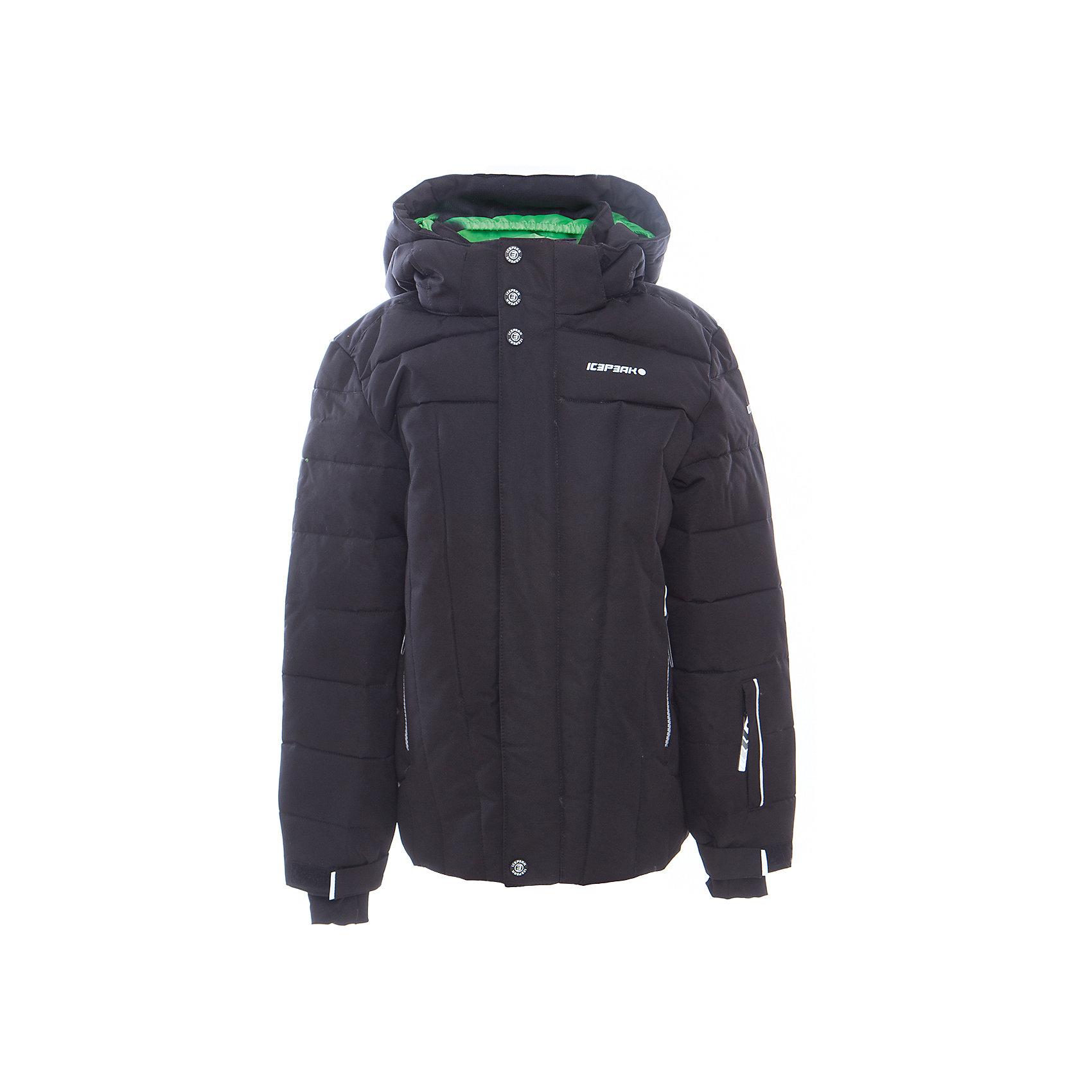 Куртка для мальчика ICEPEAKОдежда<br>Куртка для мальчика от известного бренда ICEPEAK.<br>Куртка с отстегивающимся капюшоном, молния закрыта планкой, сформированный локоть, утяжка в нижней части куртки, снегозащитная юбка, регулируемый манжет на липучке, эластичный внутренний манжет с прорезью для пальца, утепленные и мягкие боковые карманы на молнии, карман для ski pass, мягкий и теплый внутренний воротник, светоотражающие элементы, утеплитель искусственный пух Finnwad, утепление 190/110 гр., рекомендуемый температурный режим до -25 град.,Icetech 10 000mm/5000 g, Super soft touch, Children's safety, Reflectors<br>Состав:<br>100% полиэстер<br><br>Ширина мм: 356<br>Глубина мм: 10<br>Высота мм: 245<br>Вес г: 519<br>Цвет: черный<br>Возраст от месяцев: 84<br>Возраст до месяцев: 96<br>Пол: Мужской<br>Возраст: Детский<br>Размер: 128,176,140,152,164<br>SKU: 5413983
