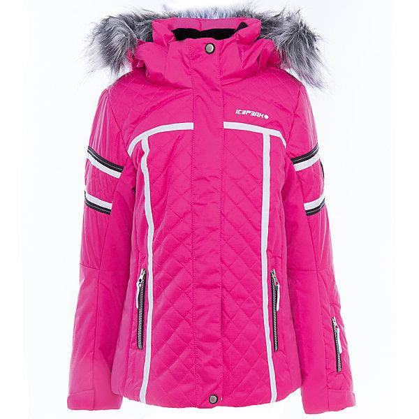 Куртка для девочки ICEPEAKОдежда<br>Характеристики товара:  <br><br>• пол: девочка;<br>• цвет: розовый;<br>• состав: 100% полиэстер;<br>• утеплитель : 220/200 гр;<br>• сезон: зима;<br>• температурный режим: до -30 °;<br>• отстегивающийся капюшон;<br>• молния закрыта планкой;<br>• сформированный локоть;<br>• утяжка по подолу;<br>• снегозащитная юбка;<br>• внутренний трикотажный манжет на рукаве;<br>• утепленные и мягкие боковые карманы на молнии;<br>• карман для ski pass;<br>• мягкий и теплый внутренний воротник;<br>• светоотражающие элементы;<br>• страна бренда: Финляндия;<br>• страна изготовитель: Китай.<br><br>Куртка текстильная с капюшоном с утеплением 220/200 гр. Комфортная, обеспечивает тепло благодаря водо- и ветронепроницаемым свойствам ткань. Куртка имеет сформированный локоть, утяжку в нижней части куртки, утепленные и мягкие боковые карманы на молнии.<br><br>Эффективные светоотражатели позволят чувствовать себя в безопасности в любых погодных условиях, особенно в темное время суток.<br><br>Куртку Icepeak (Айспик) для девочки можно купить в нашем интернет-магазине.<br><br>Ширина мм: 356<br>Глубина мм: 10<br>Высота мм: 245<br>Вес г: 519<br>Цвет: розовый<br>Возраст от месяцев: 84<br>Возраст до месяцев: 96<br>Пол: Женский<br>Возраст: Детский<br>Размер: 128,176,164,152,140<br>SKU: 5414003