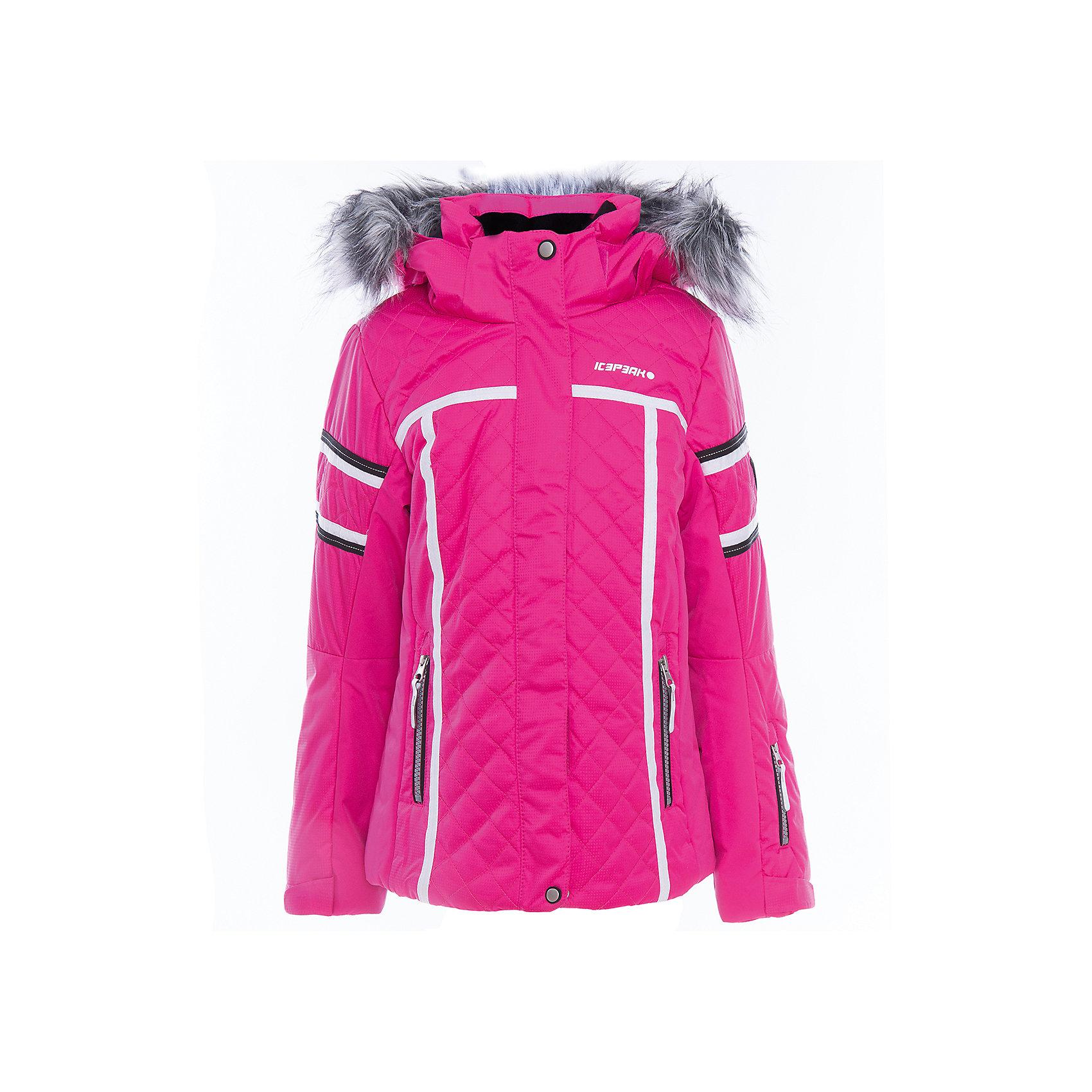 Куртка для девочки ICEPEAKОдежда<br>Куртка для девочки от известного бренда ICEPEAK.<br>Куртка с отстегивающимся капюшоном, капюшон с искусственным мехом, молния закрыта планкой, сформированный локоть, утяжка в нижней части куртки, снегозащитная юбка, внутренний трикотажный манжет на рукаве, утепленные и мягкие боковые карманы на молнии, мягкий и теплый внутренний воротник, карман для ski pass на рукаве, светоотражающие элементы, искусственный утеплитель Finnwad, утепление 220/200 гр., рекомендуемый температурный режим до -30 град.<br>Состав:<br>100% полиэстер<br><br>Ширина мм: 356<br>Глубина мм: 10<br>Высота мм: 245<br>Вес г: 519<br>Цвет: розовый<br>Возраст от месяцев: 180<br>Возраст до месяцев: 192<br>Пол: Женский<br>Возраст: Детский<br>Размер: 176,128,140,152,164<br>SKU: 5414003