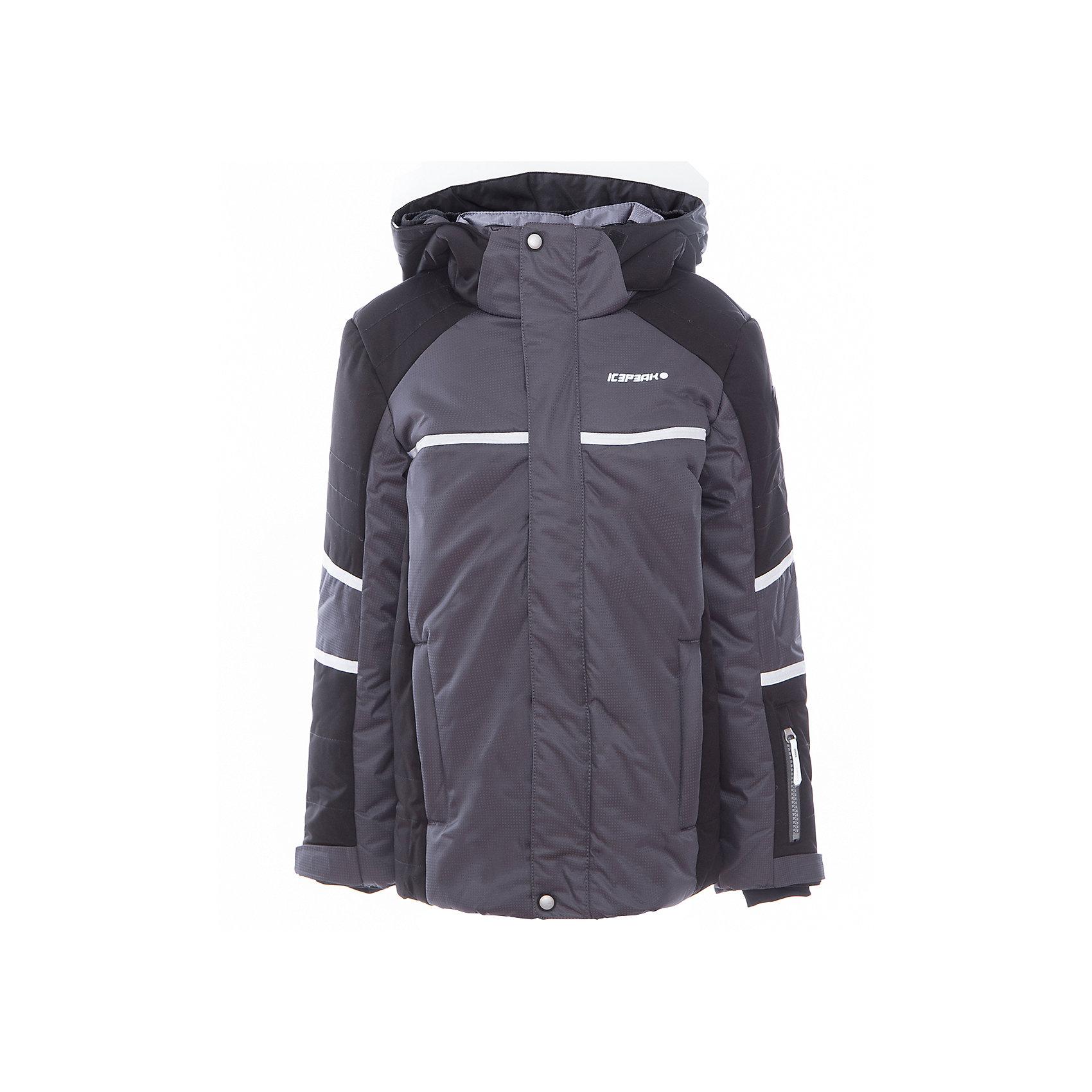 Куртка для мальчика ICEPEAKОдежда<br>Куртка для мальчика от известного бренда ICEPEAK.<br>Куртка с отстегивающимся капюшоном, молния закрыта планкой, сформированный локоть, утяжка в нижней части куртки, снегозащитная юбка, регулируемый манжет на липучке, эластичный внутренний манжет с прорезью для пальца, утепленные и мягкие боковые карманы на молнии, карман для ski pass, мягкий и теплый внутренний воротник, светоотражающие элементы, утеплитель искусственный пух Finnwad, утепление 190/110 гр., рекомендуемый температурный режим до -25 град.<br>Состав:<br>100% полиэстер<br><br>Ширина мм: 356<br>Глубина мм: 10<br>Высота мм: 245<br>Вес г: 519<br>Цвет: серый<br>Возраст от месяцев: 84<br>Возраст до месяцев: 96<br>Пол: Мужской<br>Возраст: Детский<br>Размер: 128,176,140,164,152<br>SKU: 5414009