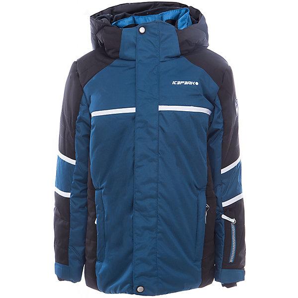 Куртка для мальчика ICEPEAKОдежда<br>Куртка для мальчика от известного бренда ICEPEAK.<br>Куртка с отстегивающимся капюшоном, молния закрыта планкой, сформированный локоть, утяжка в нижней части куртки, снегозащитная юбка, регулируемый манжет на липучке, эластичный внутренний манжет с прорезью для пальца, утепленные и мягкие боковые карманы на молнии, карман для ski pass, мягкий и теплый внутренний воротник, светоотражающие элементы, утеплитель искусственный пух Finnwad, утепление 190/110 гр., рекомендуемый температурный режим до -25 град.<br>Состав:<br>100% полиэстер<br><br>Ширина мм: 356<br>Глубина мм: 10<br>Высота мм: 245<br>Вес г: 519<br>Цвет: синий<br>Возраст от месяцев: 180<br>Возраст до месяцев: 192<br>Пол: Мужской<br>Возраст: Детский<br>Размер: 176,128,140,152,164<br>SKU: 5414015