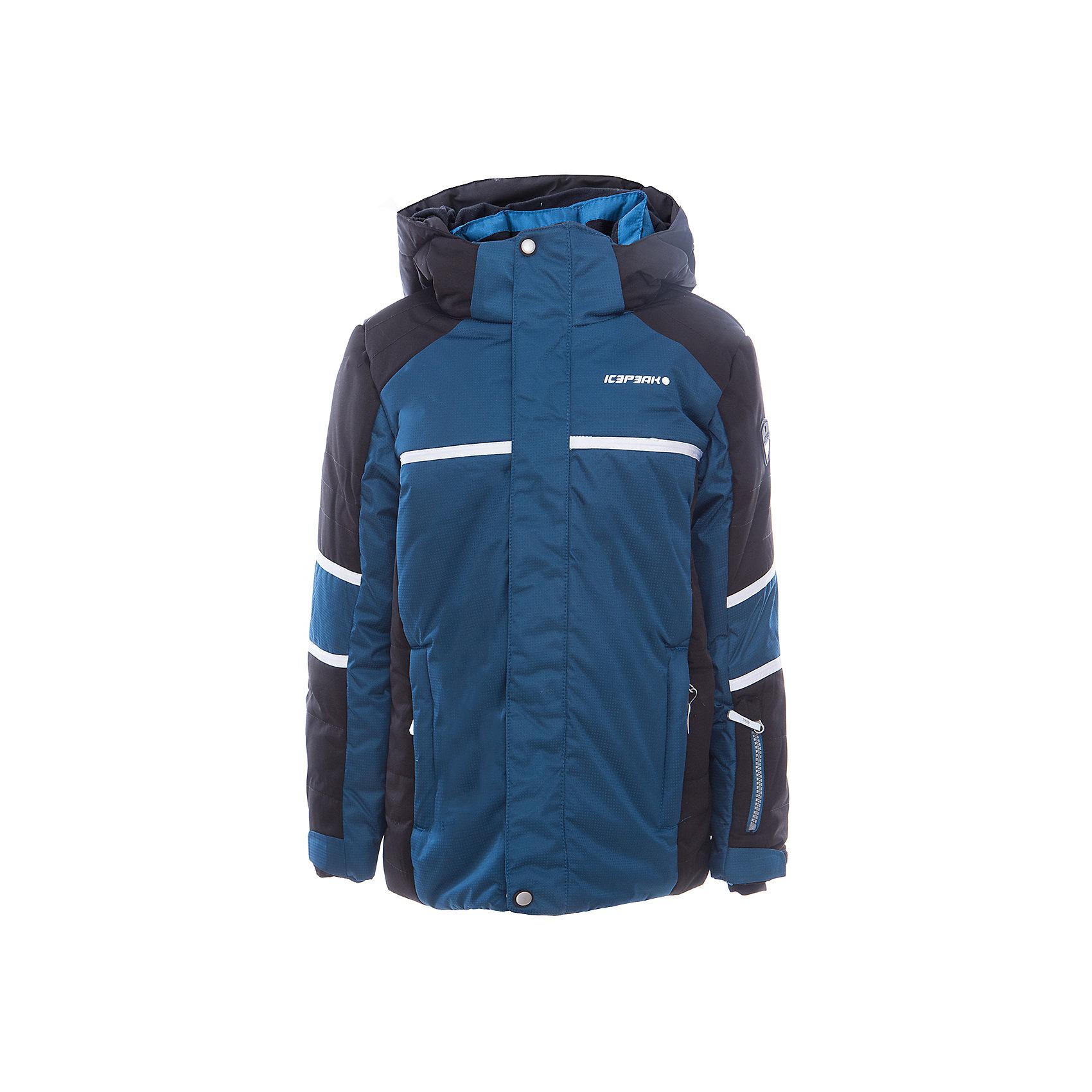 Куртка для мальчика ICEPEAKКуртка для мальчика от известного бренда ICEPEAK.<br>Куртка с отстегивающимся капюшоном, молния закрыта планкой, сформированный локоть, утяжка в нижней части куртки, снегозащитная юбка, регулируемый манжет на липучке, эластичный внутренний манжет с прорезью для пальца, утепленные и мягкие боковые карманы на молнии, карман для ski pass, мягкий и теплый внутренний воротник, светоотражающие элементы, утеплитель искусственный пух Finnwad, утепление 190/110 гр., рекомендуемый температурный режим до -25 град.<br>Состав:<br>100% полиэстер<br><br>Ширина мм: 356<br>Глубина мм: 10<br>Высота мм: 245<br>Вес г: 519<br>Цвет: синий<br>Возраст от месяцев: 180<br>Возраст до месяцев: 192<br>Пол: Мужской<br>Возраст: Детский<br>Размер: 176,128,140,152,164<br>SKU: 5414015