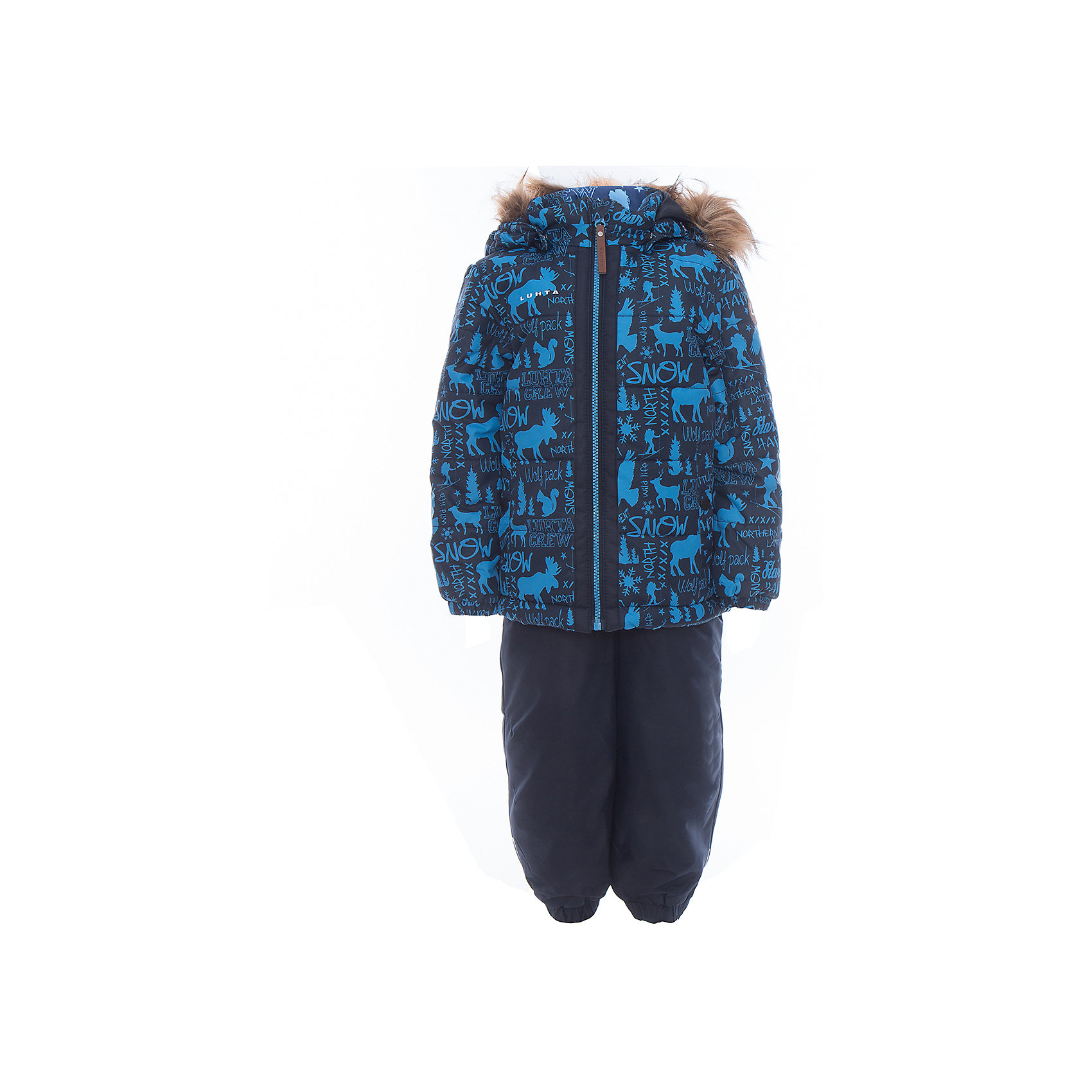 Комплект: куртка и полукомбинезон для мальчика LuhtaОдежда<br>Комплект: куртка и полукомбинезон для мальчика от известного бренда Luhta.<br>Куртка с отстегивающимся капюшоном, принт, молния закрыта планкой , эластичная резинка на рукавах и в нижней части куртки, карманы на кнопке <br>Состав:<br>100% полиэстер<br><br>Ширина мм: 356<br>Глубина мм: 10<br>Высота мм: 245<br>Вес г: 519<br>Цвет: синий<br>Возраст от месяцев: 24<br>Возраст до месяцев: 36<br>Пол: Женский<br>Возраст: Детский<br>Размер: 98,104,110,116,122,128,92<br>SKU: 5414056