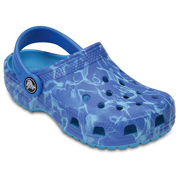 Сабо Kids Aqua CROCSПляжная обувь<br>Характеристики товара:<br><br>• цвет: синий<br>• принт: Аква<br>• сезон: лето<br>• тип: пляжная обувь<br>• материал: 100% полимер Croslite™<br>• под воздействием температуры тела принимают форму стопы<br>• полностью литая модель<br>• вентиляционные отверстия<br>• бактериостатичный материал<br>• пяточный ремешок фиксирует стопу<br>• отверстия для использования украшений<br>• анатомическая стелька с массажными точками<br>• страна бренда: США<br>• страна изготовитель: Китай<br><br>Для правильного развития ребенка крайне важно, чтобы обувь была удобной.<br><br>Такие сабо обеспечивают детям необходимый комфорт, а анатомическая стелька с массажными линиями для стимуляции кровообращения позволяет ножкам дольше не уставать. <br><br>Сабо легко надеваются и снимаются, отлично сидят на ноге. <br><br>Материал, из которого они сделаны, не дает размножаться бактериям, поэтому такая обувь препятствует образованию неприятного запаха и появлению болезней стоп.<br><br>Обувь от американского бренда Crocs в данный момент завоевала широкую популярность во всем мире, и это не удивительно - ведь она невероятно удобна. <br><br>Её носят врачи, спортсмены, звёзды шоу-бизнеса, люди, которым много времени приходится бывать на ногах - они понимают, как важна комфортная обувь. <br><br>Продукция Crocs - это качественные товары, созданные с применением новейших технологий. <br><br>Обувь отличается стильным дизайном и продуманной конструкцией. Изделие производится из качественных и проверенных материалов, которые безопасны для детей.<br><br>Сабо Kids Classic от торговой марки Crocs можно купить в нашем интернет-магазине.<br>Ширина мм: 225; Глубина мм: 139; Высота мм: 112; Вес г: 290; Цвет: синий; Возраст от месяцев: 24; Возраст до месяцев: 24; Пол: Унисекс; Возраст: Детский; Размер: 25,27,34/35,33/34,31/32,26,24,23,22,21,30,29,28; SKU: 5416344;