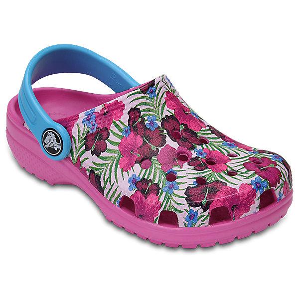 Сабо Kids Flowers, CROCSПляжная обувь<br>Характеристики товара:<br><br>• цвет: розовый<br>• принт: Цветы<br>• сезон: лето<br>• тип: пляжная обувь<br>• материал: 100% полимер Croslite™<br>• под воздействием температуры тела принимают форму стопы<br>• полностью литая модель<br>• вентиляционные отверстия<br>• бактериостатичный материал<br>• пяточный ремешок фиксирует стопу<br>• отверстия для использования украшений<br>• анатомическая стелька с массажными точками<br>• страна бренда: США<br>• страна изготовитель: Китай<br><br>Для правильного развития ребенка крайне важно, чтобы обувь была удобной.<br><br>Такие сабо обеспечивают детям необходимый комфорт, а анатомическая стелька с массажными линиями для стимуляции кровообращения позволяет ножкам дольше не уставать. <br><br>Сабо легко надеваются и снимаются, отлично сидят на ноге. <br><br>Материал, из которого они сделаны, не дает размножаться бактериям, поэтому такая обувь препятствует образованию неприятного запаха и появлению болезней стоп.<br><br>Обувь от американского бренда Crocs в данный момент завоевала широкую популярность во всем мире, и это не удивительно - ведь она невероятно удобна. <br><br>Её носят врачи, спортсмены, звёзды шоу-бизнеса, люди, которым много времени приходится бывать на ногах - они понимают, как важна комфортная обувь. <br><br>Продукция Crocs - это качественные товары, созданные с применением новейших технологий. <br><br>Обувь отличается стильным дизайном и продуманной конструкцией. Изделие производится из качественных и проверенных материалов, которые безопасны для детей.<br><br>Сабо Kids Classic от торговой марки Crocs можно купить в нашем интернет-магазине.<br><br>Ширина мм: 225<br>Глубина мм: 139<br>Высота мм: 112<br>Вес г: 290<br>Цвет: розовый<br>Возраст от месяцев: 24<br>Возраст до месяцев: 36<br>Пол: Унисекс<br>Возраст: Детский<br>Размер: 26,27,34/35,33/34,31/32,25,24,23,22,21,30,29,28<br>SKU: 5416358