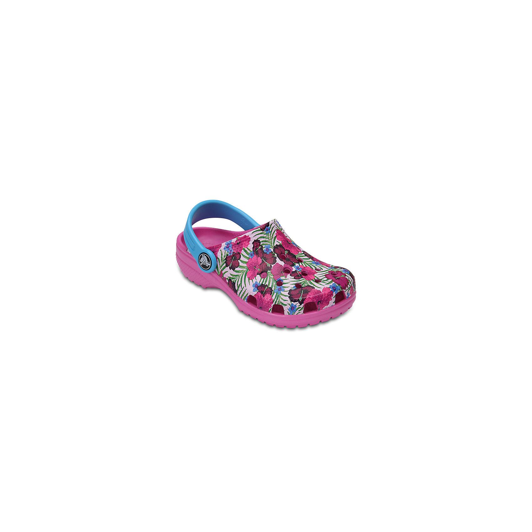 Сабо Kids Flowers, CROCSПляжная обувь<br>Характеристики товара:<br><br>• цвет: розовый<br>• принт: Цветы<br>• сезон: лето<br>• тип: пляжная обувь<br>• материал: 100% полимер Croslite™<br>• под воздействием температуры тела принимают форму стопы<br>• полностью литая модель<br>• вентиляционные отверстия<br>• бактериостатичный материал<br>• пяточный ремешок фиксирует стопу<br>• отверстия для использования украшений<br>• анатомическая стелька с массажными точками<br>• страна бренда: США<br>• страна изготовитель: Китай<br><br>Для правильного развития ребенка крайне важно, чтобы обувь была удобной.<br><br>Такие сабо обеспечивают детям необходимый комфорт, а анатомическая стелька с массажными линиями для стимуляции кровообращения позволяет ножкам дольше не уставать. <br><br>Сабо легко надеваются и снимаются, отлично сидят на ноге. <br><br>Материал, из которого они сделаны, не дает размножаться бактериям, поэтому такая обувь препятствует образованию неприятного запаха и появлению болезней стоп.<br><br>Обувь от американского бренда Crocs в данный момент завоевала широкую популярность во всем мире, и это не удивительно - ведь она невероятно удобна. <br><br>Её носят врачи, спортсмены, звёзды шоу-бизнеса, люди, которым много времени приходится бывать на ногах - они понимают, как важна комфортная обувь. <br><br>Продукция Crocs - это качественные товары, созданные с применением новейших технологий. <br><br>Обувь отличается стильным дизайном и продуманной конструкцией. Изделие производится из качественных и проверенных материалов, которые безопасны для детей.<br><br>Сабо Kids Classic от торговой марки Crocs можно купить в нашем интернет-магазине.<br><br>Ширина мм: 225<br>Глубина мм: 139<br>Высота мм: 112<br>Вес г: 290<br>Цвет: розовый<br>Возраст от месяцев: 36<br>Возраст до месяцев: 48<br>Пол: Унисекс<br>Возраст: Детский<br>Размер: 27,34/35,28,29,30,21,22,23,24,25,26,31/32,33/34<br>SKU: 5416358