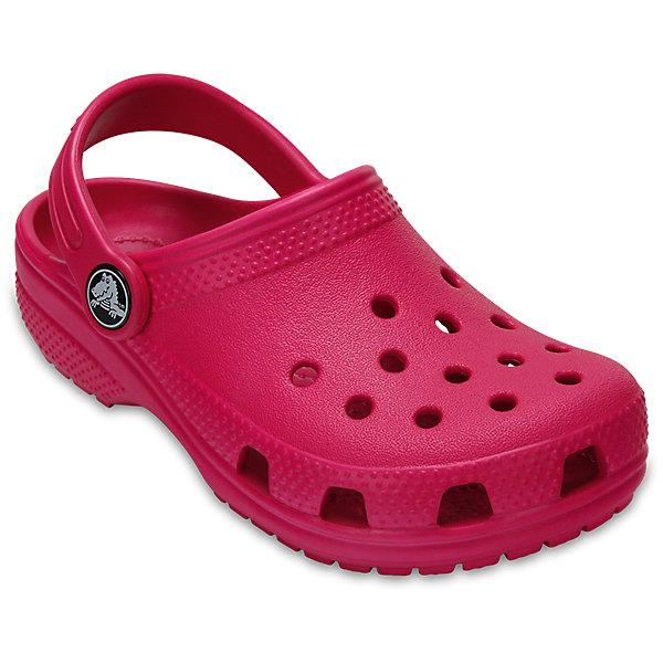Сабо Classic clog CROCS, розовыйПляжная обувь<br>Характеристики товара:<br><br>• цвет: розовый<br>• сезон: лето<br>• тип: пляжная обувь<br>• материал: 100% полимер Croslite™<br>• литая модель<br>• вентиляционные отверстия<br>• бактериостатичный материал<br>• пяточный ремешок фиксирует стопу<br>• толстая устойчивая подошва<br>• отверстия для использования украшений<br>• анатомическая стелька с массажными точками<br>• страна бренда: США<br>• страна изготовитель: Китай<br><br>Сабо Classic clog обеспечивают детям необходимый комфорт, а анатомическая стелька с массажными линиями для стимуляции кровообращения позволяет ножкам дольше не уставать. <br><br>Материал, из которого они сделаны, не дает размножаться бактериям, поэтому такая обувь препятствует образованию неприятного запаха и появлению болезней стоп. <br><br>Обувь от американского бренда Crocs в данный момент завоевала широкую популярность во всем мире, и это не удивительно - ведь она невероятно удобна. <br><br>Сабо Classic clog от торговой марки Crocs можно купить в нашем интернет-магазине.<br><br>Ширина мм: 225<br>Глубина мм: 139<br>Высота мм: 112<br>Вес г: 290<br>Цвет: розовый<br>Возраст от месяцев: 36<br>Возраст до месяцев: 48<br>Пол: Унисекс<br>Возраст: Детский<br>Размер: 27,34/35,33/34,31/32,26,25,24,23,22,21,30,29,28<br>SKU: 5416372