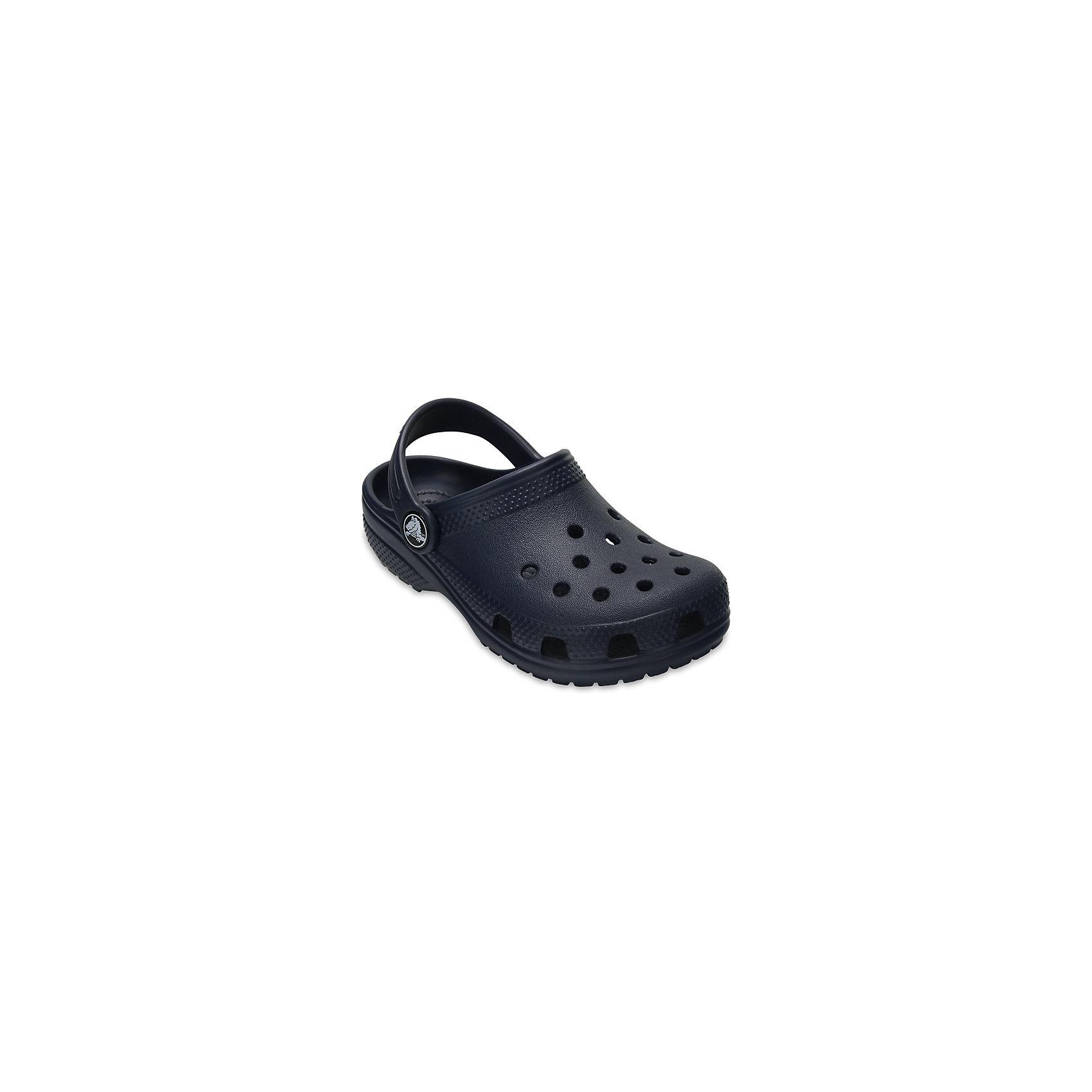 Сабо Classic clog CROCSПляжная обувь<br>Характеристики товара:<br><br>• цвет: черный<br>• сезон: лето<br>• тип: пляжная обувь<br>• материал: 100% полимер Croslite™<br>• литая модель<br>• вентиляционные отверстия<br>• бактериостатичный материал<br>• пяточный ремешок фиксирует стопу<br>• толстая устойчивая подошва<br>• отверстия для использования украшений<br>• анатомическая стелька с массажными точками<br>• страна бренда: США<br>• страна изготовитель: Китай<br><br>Сабо Classic clog обеспечивают детям необходимый комфорт, а анатомическая стелька с массажными линиями для стимуляции кровообращения позволяет ножкам дольше не уставать. <br><br>Материал, из которого они сделаны, не дает размножаться бактериям, поэтому такая обувь препятствует образованию неприятного запаха и появлению болезней стоп. <br><br>Обувь от американского бренда Crocs в данный момент завоевала широкую популярность во всем мире, и это не удивительно - ведь она невероятно удобна. <br><br>Сабо Classic clog от торговой марки Crocs можно купить в нашем интернет-магазине.<br><br>Ширина мм: 225<br>Глубина мм: 139<br>Высота мм: 112<br>Вес г: 290<br>Цвет: синий<br>Возраст от месяцев: 15<br>Возраст до месяцев: 18<br>Пол: Унисекс<br>Возраст: Детский<br>Размер: 22,23,24,25,26,31/32,33/34,34/35,27,28,29,30,21<br>SKU: 5416400
