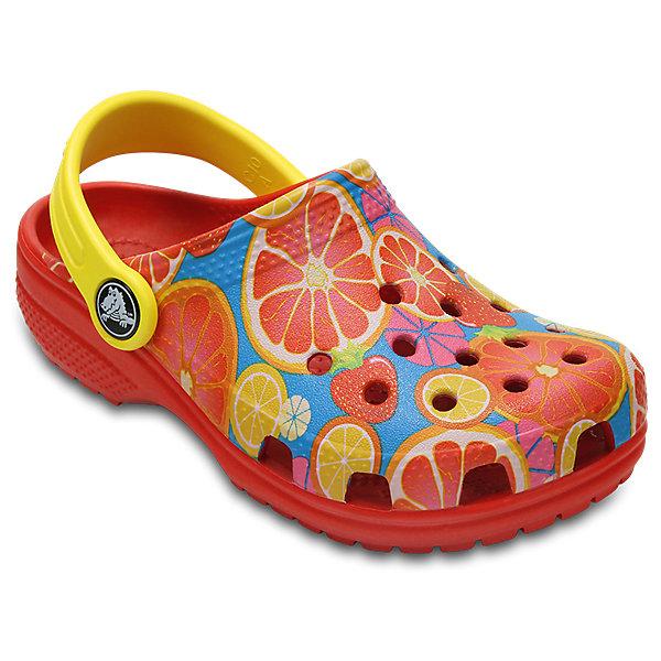 Сабо Kids Classic, CROCSПляжная обувь<br>Характеристики товара:<br><br>• цвет: красный<br>• принт: Фрукты<br>• сезон: лето<br>• тип: пляжная обувь<br>• материал: 100% полимер Croslite™<br>• под воздействием температуры тела принимают форму стопы<br>• полностью литая модель<br>• вентиляционные отверстия<br>• бактериостатичный материал<br>• пяточный ремешок фиксирует стопу<br>• отверстия для использования украшений<br>• анатомическая стелька с массажными точками<br>• страна бренда: США<br>• страна изготовитель: Китай<br><br>Для правильного развития ребенка крайне важно, чтобы обувь была удобной.<br><br>Такие сабо обеспечивают детям необходимый комфорт, а анатомическая стелька с массажными линиями для стимуляции кровообращения позволяет ножкам дольше не уставать. <br><br>Сабо легко надеваются и снимаются, отлично сидят на ноге. <br><br>Материал, из которого они сделаны, не дает размножаться бактериям, поэтому такая обувь препятствует образованию неприятного запаха и появлению болезней стоп.<br><br>Обувь от американского бренда Crocs в данный момент завоевала широкую популярность во всем мире, и это не удивительно - ведь она невероятно удобна. <br><br>Её носят врачи, спортсмены, звёзды шоу-бизнеса, люди, которым много времени приходится бывать на ногах - они понимают, как важна комфортная обувь. <br><br>Продукция Crocs - это качественные товары, созданные с применением новейших технологий. <br><br>Обувь отличается стильным дизайном и продуманной конструкцией. Изделие производится из качественных и проверенных материалов, которые безопасны для детей.<br><br>Сабо Kids Classic от торговой марки Crocs можно купить в нашем интернет-магазине.<br><br>Ширина мм: 225<br>Глубина мм: 139<br>Высота мм: 112<br>Вес г: 290<br>Цвет: красный<br>Возраст от месяцев: 24<br>Возраст до месяцев: 36<br>Пол: Унисекс<br>Возраст: Детский<br>Размер: 26,24,34/35,33/34,31/32,25,23,22,21,30,29,28,27<br>SKU: 5416428