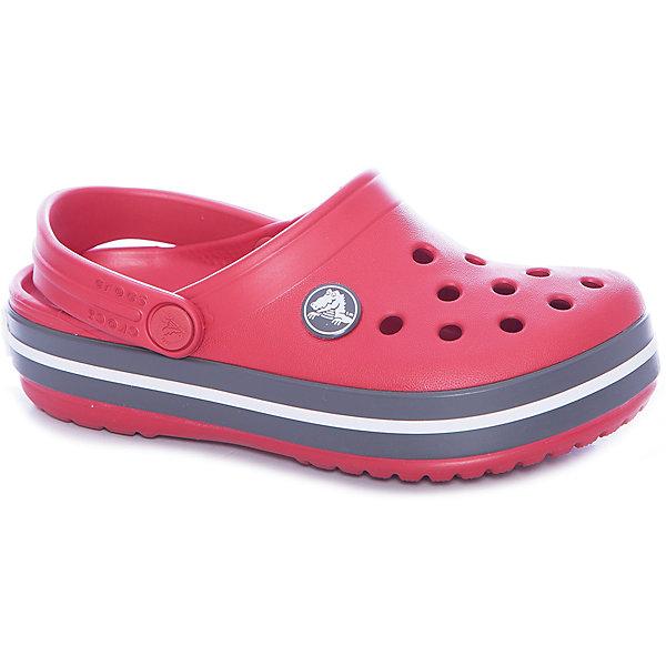 Сабо Crocband™ clog, красныйПляжная обувь<br>Характеристики товара:<br><br>• цвет: красный<br>• материал: 100% полимер Croslite™<br>• литая модель<br>• вентиляционные отверстия<br>• бактериостатичный материал<br>• пяточный ремешок фиксирует стопу<br>• толстая устойчивая подошва<br>• отверстия для использования украшений<br>• анатомическая стелька с массажными точками стимулирует кровообращение<br>• страна бренда: США<br>• страна изготовитель: Китай<br><br>Для правильного развития ребенка крайне важно, чтобы обувь была удобной. <br><br>Такие сабо обеспечивают детям необходимый комфорт, а анатомическая стелька с массажными линиями для стимуляции кровообращения позволяет ножкам дольше не уставать. <br><br>Сабо легко надеваются и снимаются, отлично сидят на ноге. <br><br>Материал, из которого они сделаны, не дает размножаться бактериям, поэтому такая обувь препятствует образованию неприятного запаха и появлению болезней стоп.<br><br>Обувь от американского бренда Crocs в данный момент завоевала широкую популярность во всем мире, и это не удивительно - ведь она невероятно удобна. <br><br>Её носят врачи, спортсмены, звёзды шоу-бизнеса, люди, которым много времени приходится бывать на ногах - они понимают, как важна комфортная обувь. <br><br>Продукция Crocs - это качественные товары, созданные с применением новейших технологий. <br><br>Обувь отличается стильным дизайном и продуманной конструкцией. <br><br>Изделие производится из качественных и проверенных материалов, которые безопасны для детей.<br><br>Сабо Crocband™ clog от торговой марки Crocs можно купить в нашем интернет-магазине.<br><br>Ширина мм: 225<br>Глубина мм: 139<br>Высота мм: 112<br>Вес г: 290<br>Цвет: grau/rot<br>Возраст от месяцев: 12<br>Возраст до месяцев: 15<br>Пол: Унисекс<br>Возраст: Детский<br>Размер: 21,22,27,30,29,28,34/35,33/34,31/32,26,25,24,23<br>SKU: 5416496