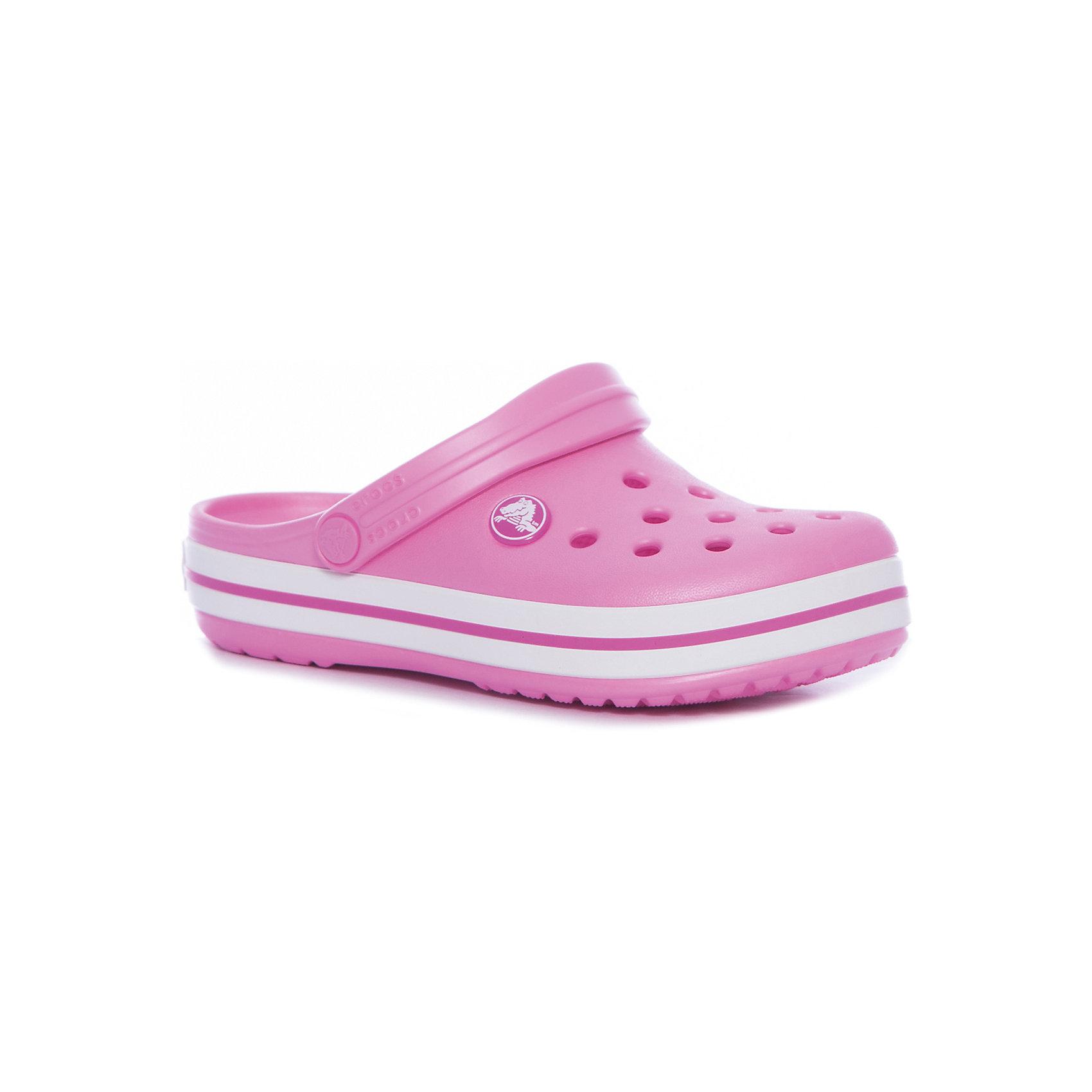 Сабо Crocband™ clog, розовыйПляжная обувь<br>Характеристики товара:<br><br>• цвет: розовый<br>• материал: 100% полимер Croslite™<br>• литая модель<br>• вентиляционные отверстия<br>• бактериостатичный материал<br>• пяточный ремешок фиксирует стопу<br>• толстая устойчивая подошва<br>• отверстия для использования украшений<br>• анатомическая стелька с массажными точками стимулирует кровообращение<br>• страна бренда: США<br>• страна изготовитель: Китай<br><br>Для правильного развития ребенка крайне важно, чтобы обувь была удобной. <br><br>Такие сабо обеспечивают детям необходимый комфорт, а анатомическая стелька с массажными линиями для стимуляции кровообращения позволяет ножкам дольше не уставать. <br><br>Сабо легко надеваются и снимаются, отлично сидят на ноге. <br><br>Материал, из которого они сделаны, не дает размножаться бактериям, поэтому такая обувь препятствует образованию неприятного запаха и появлению болезней стоп.<br><br>Обувь от американского бренда Crocs в данный момент завоевала широкую популярность во всем мире, и это не удивительно - ведь она невероятно удобна. <br><br>Её носят врачи, спортсмены, звёзды шоу-бизнеса, люди, которым много времени приходится бывать на ногах - они понимают, как важна комфортная обувь. <br><br>Продукция Crocs - это качественные товары, созданные с применением новейших технологий. <br><br>Обувь отличается стильным дизайном и продуманной конструкцией. <br><br>Изделие производится из качественных и проверенных материалов, которые безопасны для детей.<br><br>Сабо Crocband™ clog от торговой марки Crocs можно купить в нашем интернет-магазине.<br><br>Ширина мм: 225<br>Глубина мм: 139<br>Высота мм: 112<br>Вес г: 290<br>Цвет: розовый<br>Возраст от месяцев: 48<br>Возраст до месяцев: 60<br>Пол: Унисекс<br>Возраст: Детский<br>Размер: 28,29,30,21,22,23,24,25,26,31/32,33/34,34/35,27<br>SKU: 5416510