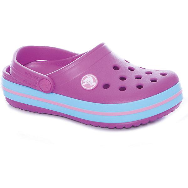 Сабо Crocband™ clog, фиолетовыйПляжная обувь<br>Характеристики товара:<br><br>• цвет: фиолетовый<br>• сезон: лето<br>• материал: 100% полимер Croslite™<br>• литая модель<br>• вентиляционные отверстия<br>• бактериостатичный материал<br>• пяточный ремешок фиксирует стопу<br>• толстая устойчивая подошва<br>• отверстия для использования украшений<br>• анатомическая стелька с массажными точками стимулирует кровообращение<br>• страна бренда: США<br>• страна изготовитель: Китай<br><br>Для правильного развития ребенка крайне важно, чтобы обувь была удобной. <br><br>Такие сабо обеспечивают детям необходимый комфорт, а анатомическая стелька с массажными линиями для стимуляции кровообращения позволяет ножкам дольше не уставать. <br><br>Сабо легко надеваются и снимаются, отлично сидят на ноге. <br><br>Материал, из которого они сделаны, не дает размножаться бактериям, поэтому такая обувь препятствует образованию неприятного запаха и появлению болезней стоп.<br><br>Обувь от американского бренда Crocs в данный момент завоевала широкую популярность во всем мире, и это не удивительно - ведь она невероятно удобна. <br><br>Её носят врачи, спортсмены, звёзды шоу-бизнеса, люди, которым много времени приходится бывать на ногах - они понимают, как важна комфортная обувь. <br><br>Продукция Crocs - это качественные товары, созданные с применением новейших технологий. <br><br>Обувь отличается стильным дизайном и продуманной конструкцией. <br><br>Изделие производится из качественных и проверенных материалов, которые безопасны для детей.<br><br>Сабо Crocband™ clog от торговой марки Crocs можно купить в нашем интернет-магазине.<br><br>Ширина мм: 225<br>Глубина мм: 139<br>Высота мм: 112<br>Вес г: 290<br>Цвет: лиловый<br>Возраст от месяцев: 21<br>Возраст до месяцев: 24<br>Пол: Унисекс<br>Возраст: Детский<br>Размер: 24,34/35,31/32,26,23,22,21,30,29,28,27,25,33/34<br>SKU: 5416524