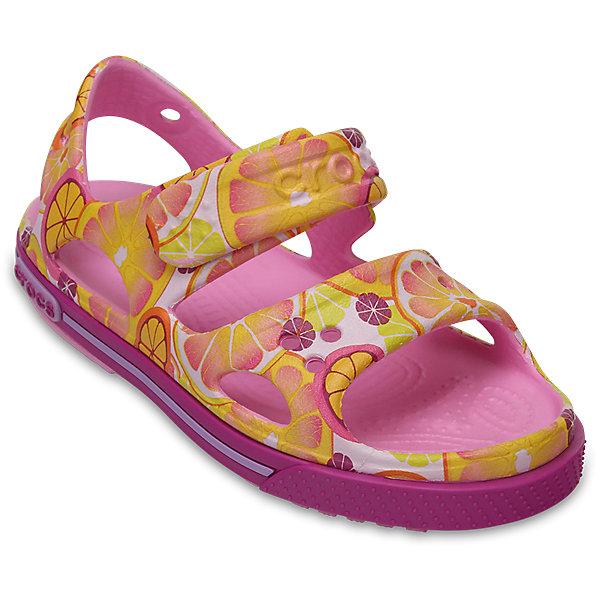 Сандалии для девочки Kids Crocband II CROCSПляжная обувь<br>Характеристики товара:<br><br>• цвет: желтый<br>• принт: фрукты<br>• сезон: лето<br>• материал: 100% полимер Croslite™<br>• бактериостатичный материал<br>• ремешок фиксирует стопу<br>• антискользящая устойчивая подошва<br>• анатомическая стелька с массажными точками<br>• страна бренда: США<br>• страна изготовитель: Китай<br><br>Для правильного развития ребенка крайне важно, чтобы обувь была удобной.<br><br>Такие сандалии обеспечивают детям необходимый комфорт, а анатомическая стелька с массажными линиями для стимуляции кровообращения позволяет ножкам дольше не уставать. <br><br>Сандалии легко надеваются и снимаются, отлично сидят на ноге. <br><br>Материал, из которого они сделаны, не дает размножаться бактериям, поэтому такая обувь препятствует образованию неприятного запаха и появлению болезней стоп. <br><br>Обувь от американского бренда Crocs в данный момент завоевала широкую популярность во всем мире, и это не удивительно - ведь она невероятно удобна. <br><br>Сандалии Kids Crocband II от торговой марки Crocs можно купить в нашем интернет-магазине.<br><br>Ширина мм: 219<br>Глубина мм: 154<br>Высота мм: 121<br>Вес г: 343<br>Цвет: оранжевый<br>Возраст от месяцев: 24<br>Возраст до месяцев: 24<br>Пол: Унисекс<br>Возраст: Детский<br>Размер: 25,27,34/35,33/34,31/32,26,24,23,22,21,30,29,28<br>SKU: 5416577