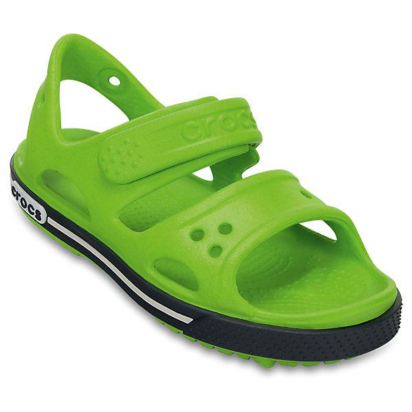 Сандалии для мальчика Kids' Crocband™ II Sandal CROCSПляжная обувь<br>Характеристики товара:<br><br>• цвет: зеленый<br>• сезон: лето<br>• материал: 100% полимер Croslite™<br>• бактериостатичный материал<br>• ремешок фиксирует стопу<br>• антискользящая устойчивая подошва<br>• липучка<br>• анатомическая стелька с массажными точками<br>• страна бренда: США<br>• страна изготовитель: Китай<br><br>Для правильного развития ребенка крайне важно, чтобы обувь была удобной.<br><br>Такие сандалии обеспечивают детям необходимый комфорт, а анатомическая стелька с массажными линиями для стимуляции кровообращения позволяет ножкам дольше не уставать. <br><br>Сандалии легко надеваются и снимаются, отлично сидят на ноге. <br><br>Материал, из которого они сделаны, не дает размножаться бактериям, поэтому такая обувь препятствует образованию неприятного запаха и появлению болезней стоп. <br><br>Обувь от американского бренда Crocs в данный момент завоевала широкую популярность во всем мире, и это не удивительно - ведь она невероятно удобна. <br><br>Сандалии Kids' Crocband™ II Sandal от торговой марки Crocs можно купить в нашем интернет-магазине.<br><br>Ширина мм: 219<br>Глубина мм: 154<br>Высота мм: 121<br>Вес г: 343<br>Цвет: зеленый<br>Возраст от месяцев: 12<br>Возраст до месяцев: 15<br>Пол: Мужской<br>Возраст: Детский<br>Размер: 21,34/35,23,24,25,26,31/32,33/34,29,27,28,30,22<br>SKU: 5416633