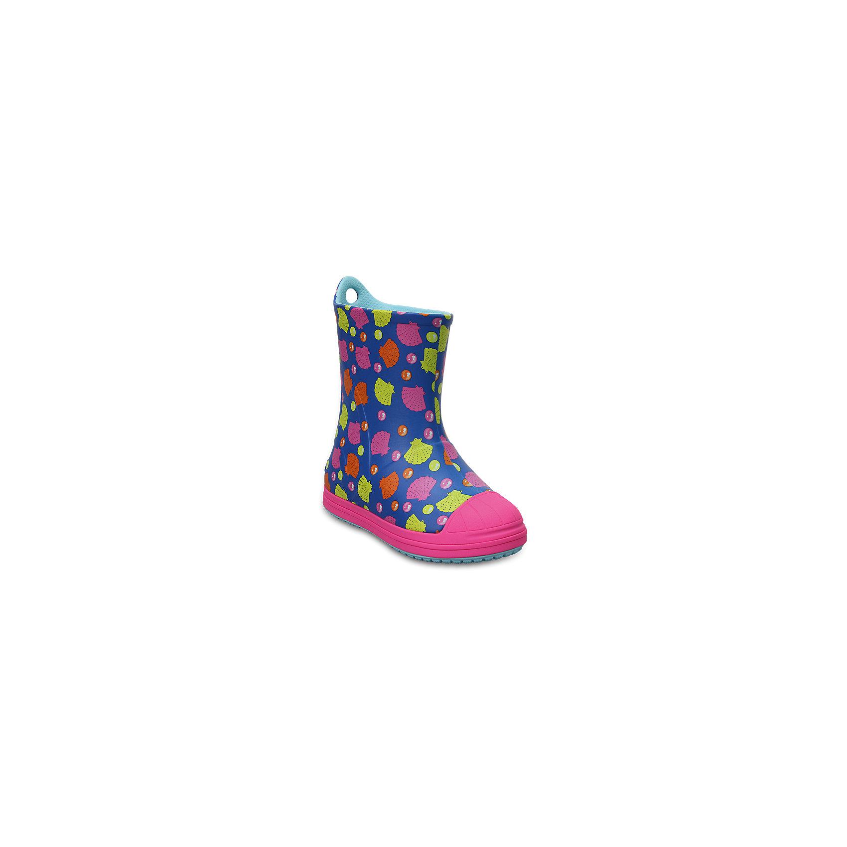 Резиновые сапоги Kids' Crocs Bump It Graphic Rain Boot, синий, розовыйРезиновые сапоги<br>Характеристики товара:<br><br>• цвет: синий, розовый<br>• принт: Ракушки<br>• сезон: демисезон, лето<br>• материал: 100% полимер Croslite™<br>• непромокаемые<br>• температурный режим: от 0° до +20° С<br>• легко очищаются<br>• антискользящая подошва<br>• язычок для удобного надевания<br>• толстая устойчивая подошва<br>• страна бренда: США<br>• страна изготовитель: Китай<br><br>Сапоги могут быть и стильными, и непромокаемыми! <br><br>Для детской обуви крайне важно, чтобы она была удобной. <br><br>Такие сапоги обеспечивают детям необходимый комфорт, а надежный материал не пропускает внутрь воду. <br><br>Сапоги легко надеваются и снимаются, отлично сидят на ноге. <br><br>Материал, из которого они сделаны, не дает размножаться бактериям, поэтому такая обувь препятствует образованию неприятного запаха и появлению болезней стоп. <br><br>Данная модель особенно понравится детям - ведь в них можно бегать по лужам!<br><br>Резиновые сапоги Kids' Crocs Bump It Graphic Rain Boot от торговой марки Crocs можно купить в нашем интернет-магазине.<br><br>Ширина мм: 237<br>Глубина мм: 180<br>Высота мм: 152<br>Вес г: 438<br>Цвет: синий<br>Возраст от месяцев: 72<br>Возраст до месяцев: 84<br>Пол: Унисекс<br>Возраст: Детский<br>Размер: 30,23,24,25,26,31/32,33/34,34/35,27,28,29<br>SKU: 5416760