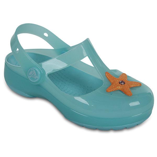 Сандалии для девочки Isabella Novelty Sandals CrocsПляжная обувь<br>Характеристики товара:<br><br>• цвет: бирюзовый<br>• сезон: лето<br>• тип сандалей: закрытые<br>• материал: 100% полимер Croslite™<br>• литая модель<br>• объемное украшение<br>• бактериостатичный материал<br>• пяточный ремешок фиксирует стопу<br>• устойчивая подошва<br>• анатомическая стелька с массажными точками<br>• страна бренда: США<br>• страна изготовитель: Китай<br><br>Сандалии для девочки Isabella Novelty Sandals обеспечивают детям необходимый комфорт, а анатомическая стелька с массажными линиями для стимуляции кровообращения позволяет ножкам дольше не уставать. <br><br>Сандалии легко надеваются и снимаются, отлично сидят на ноге. <br><br>Материал, из которого они сделаны, не дает размножаться бактериям, поэтому такая обувь препятствует образованию неприятного запаха и появлению болезней стоп. <br><br>Обувь от американского бренда Crocs в данный момент завоевала широкую популярность во всем мире, и это не удивительно - ведь она невероятно удобна. <br><br>Её носят врачи, спортсмены, звёзды шоу-бизнеса, люди, которым много времени приходится бывать на ногах - они понимают, как важна комфортная обувь.<br><br>Продукция Crocs - это качественные товары, созданные с применением новейших технологий. <br><br>Сандалии для девочки Isabella Novelty Sandals от торговой марки Crocs можно купить в нашем интернет-магазине.<br><br>Ширина мм: 225<br>Глубина мм: 139<br>Высота мм: 112<br>Вес г: 290<br>Цвет: голубой<br>Возраст от месяцев: 24<br>Возраст до месяцев: 36<br>Пол: Женский<br>Возраст: Детский<br>Размер: 26,27,25,24,23,22,21,30,29,28<br>SKU: 5416820