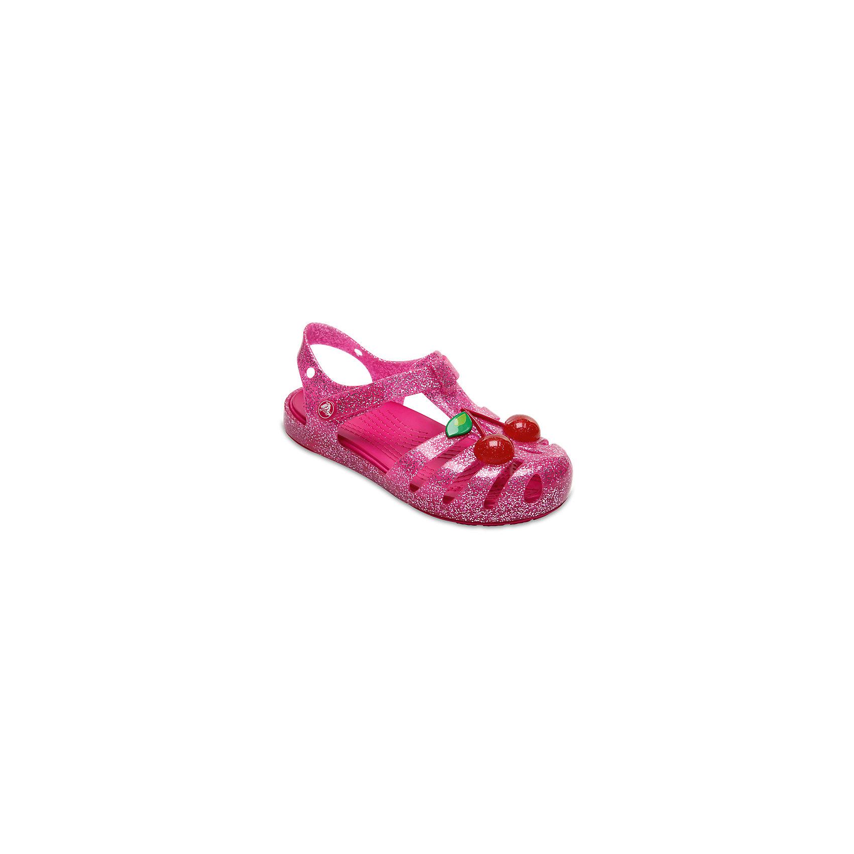 Сандалии для девочки Isabella Novelty Sandals CROCSПляжная обувь<br>Характеристики товара:<br><br>• цвет: розовый <br>• сезон: лето<br>• тип сандалей: закрытые<br>• материал: 100% полимер Croslite™<br>• литая модель<br>• объемное украшение<br>• бактериостатичный материал<br>• пяточный ремешок фиксирует стопу<br>• устойчивая подошва<br>• анатомическая стелька с массажными точками<br>• страна бренда: США<br>• страна изготовитель: Китай<br><br>Сандалии для девочки Isabella Novelty Sandals обеспечивают детям необходимый комфорт, а анатомическая стелька с массажными линиями для стимуляции кровообращения позволяет ножкам дольше не уставать. <br><br>Сандалии легко надеваются и снимаются, отлично сидят на ноге. <br><br>Материал, из которого они сделаны, не дает размножаться бактериям, поэтому такая обувь препятствует образованию неприятного запаха и появлению болезней стоп. <br><br>Обувь от американского бренда Crocs в данный момент завоевала широкую популярность во всем мире, и это не удивительно - ведь она невероятно удобна. <br><br>Её носят врачи, спортсмены, звёзды шоу-бизнеса, люди, которым много времени приходится бывать на ногах - они понимают, как важна комфортная обувь.<br><br>Продукция Crocs - это качественные товары, созданные с применением новейших технологий. <br><br>Сандалии для девочки Isabella Novelty Sandals от торговой марки Crocs можно купить в нашем интернет-магазине.<br><br>Ширина мм: 219<br>Глубина мм: 154<br>Высота мм: 121<br>Вес г: 343<br>Цвет: розовый<br>Возраст от месяцев: 24<br>Возраст до месяцев: 36<br>Пол: Женский<br>Возраст: Детский<br>Размер: 26,23,24,25,21,27,28,29,30,22<br>SKU: 5416831