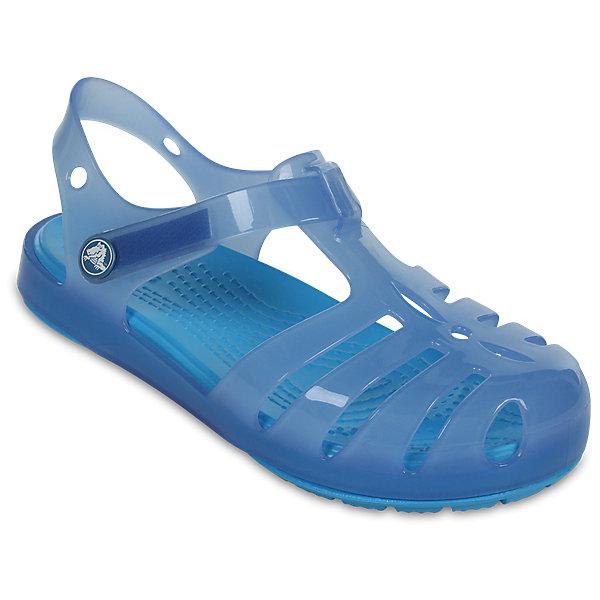 Сандалии для девочки Isabella Novelty Sandals CROCSПляжная обувь<br>Характеристики товара:<br><br>• цвет: голубой<br>• сезон: лето<br>• тип сандалей: закрытые<br>• материал: 100% полимер Croslite™<br>• литая модель<br>• бактериостатичный материал<br>• пяточный ремешок фиксирует стопу<br>• устойчивая подошва<br>• анатомическая стелька с массажными точками<br>• страна бренда: США<br>• страна изготовитель: Китай<br><br>Для правильного развития ребенка крайне важно, чтобы обувь была удобной. <br><br>Такие сандалии обеспечивают детям необходимый комфорт, а анатомическая стелька с массажными линиями для стимуляции кровообращения позволяет ножкам дольше не уставать. <br><br>Сандалии легко надеваются и снимаются, отлично сидят на ноге. Материал, из которого они сделаны, не дает размножаться бактериям, поэтому такая обувь препятствует образованию неприятного запаха и появлению болезней стоп. <br><br>Продукция Crocs - это качественные товары, созданные с применением новейших технологий. Обувь отличается стильным дизайном и продуманной конструкцией.<br><br>Сандалии для девочки Isabella Novelty Sandals от торговой марки Crocs можно купить в нашем интернет-магазине.<br><br>Ширина мм: 219<br>Глубина мм: 154<br>Высота мм: 121<br>Вес г: 343<br>Цвет: синий<br>Возраст от месяцев: 24<br>Возраст до месяцев: 36<br>Пол: Женский<br>Возраст: Детский<br>Размер: 26,27,28,29,30,21,22,23,24,25<br>SKU: 5416842