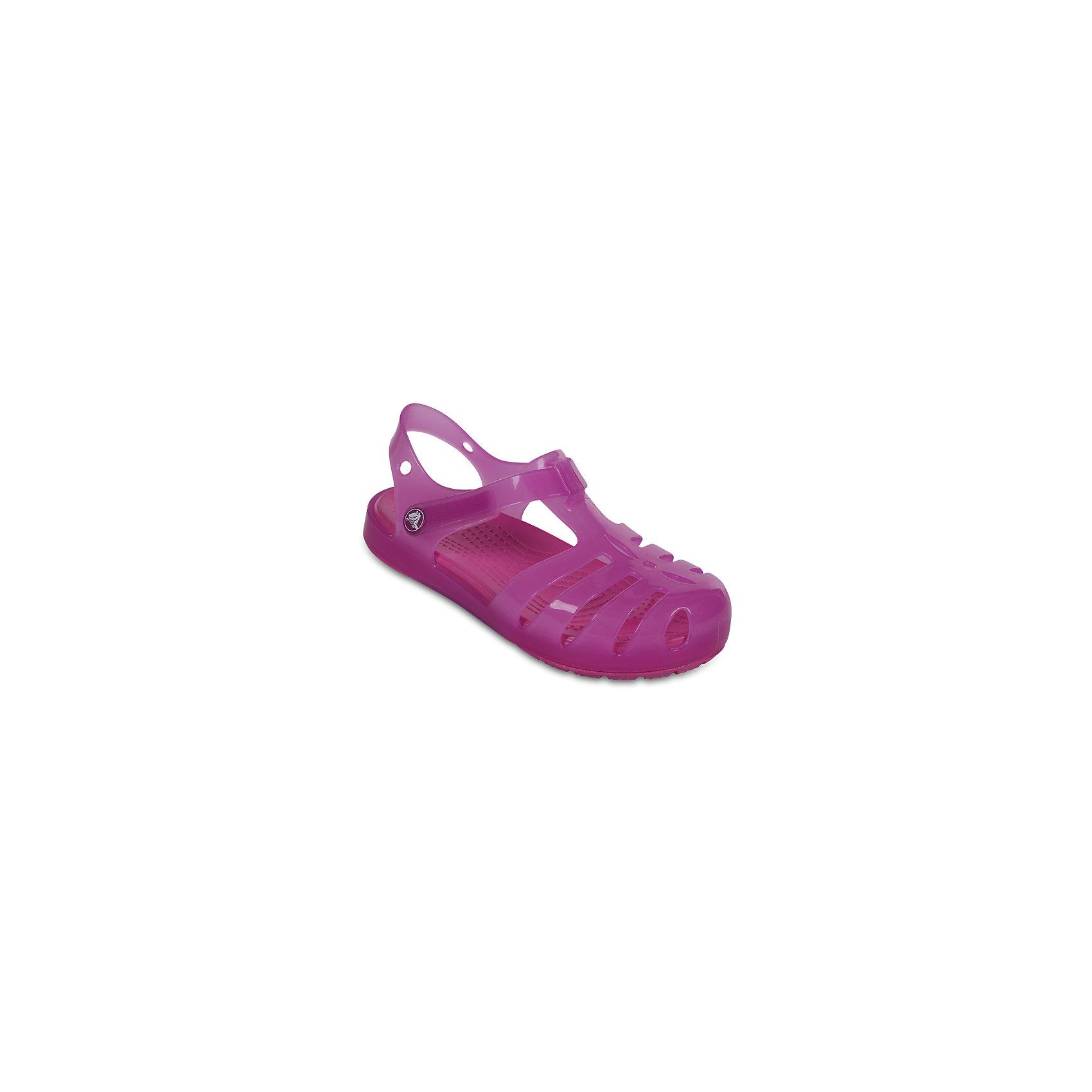 Сандалии для девочки Isabella Novelty Sandals CROCSПляжная обувь<br>Характеристики товара:<br><br>• цвет: розовый <br>• сезон: лето<br>• тип сандалей: закрытые<br>• материал: 100% полимер Croslite™<br>• литая модель<br>• бактериостатичный материал<br>• пяточный ремешок фиксирует стопу<br>• устойчивая подошва<br>• анатомическая стелька с массажными точками<br>• страна бренда: США<br>• страна изготовитель: Китай<br><br>Для правильного развития ребенка крайне важно, чтобы обувь была удобной. <br><br>Такие сандалии обеспечивают детям необходимый комфорт, а анатомическая стелька с массажными линиями для стимуляции кровообращения позволяет ножкам дольше не уставать. <br><br>Сандалии легко надеваются и снимаются, отлично сидят на ноге. Материал, из которого они сделаны, не дает размножаться бактериям, поэтому такая обувь препятствует образованию неприятного запаха и появлению болезней стоп. <br><br>Продукция Crocs - это качественные товары, созданные с применением новейших технологий. Обувь отличается стильным дизайном и продуманной конструкцией.<br><br>Сандалии для девочки Isabella Novelty Sandals от торговой марки Crocs можно купить в нашем интернет-магазине.<br><br>Ширина мм: 219<br>Глубина мм: 154<br>Высота мм: 121<br>Вес г: 343<br>Цвет: фиолетовый<br>Возраст от месяцев: 24<br>Возраст до месяцев: 36<br>Пол: Женский<br>Возраст: Детский<br>Размер: 26,27,28,29,30,21,22,23,24,25<br>SKU: 5416853