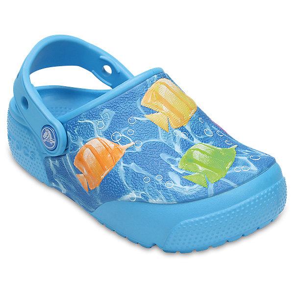 Сабо Kids Classic, CROCSПляжная обувь<br>• сезон: лето<br>• тип: пляжная обувь<br>• материал: 100% полимер Croslite™<br>• под воздействием температуры тела принимают форму стопы<br>• полностью литая модель<br>• вентиляционные отверстия<br>• бактериостатичный материал<br>• пяточный ремешок фиксирует стопу<br>• отверстия для использования украшений<br>• анатомическая стелька с массажными точками<br>• страна бренда: США<br>• страна изготовитель: Китай<br><br>Для правильного развития ребенка крайне важно, чтобы обувь была удобной. <br><br>Такие сабо обеспечивают детям необходимый комфорт, а анатомическая стелька с массажными линиями для стимуляции кровообращения позволяет ножкам дольше не уставать. <br><br>Сабо легко надеваются и снимаются, отлично сидят на ноге. <br><br>Материал, из которого они сделаны, не дает размножаться бактериям, поэтому такая обувь препятствует образованию неприятного запаха и появлению болезней стоп.<br><br>Обувь от американского бренда Crocs в данный момент завоевала широкую популярность во всем мире, и это не удивительно - ведь она невероятно удобна. <br><br>Сабо Kids Classic от торговой марки Crocs можно купить в нашем интернет-магазине.<br>Ширина мм: 225; Глубина мм: 139; Высота мм: 112; Вес г: 290; Цвет: синий; Возраст от месяцев: 36; Возраст до месяцев: 48; Пол: Унисекс; Возраст: Детский; Размер: 27,34/35,33/34,31/32,26,25,24,30,29,28,23,22,21; SKU: 5416990;