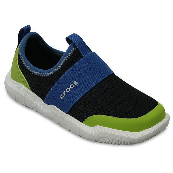 Кроссовки Kids Swiftwater Easy-On Shoes, черный, зеленыйКроссовки<br>Характеристики:<br><br>• цвет: черный, зеленый<br>• материал: верх - текстиль, низ - 100% полимер Croslite™<br>• дышащая сетка-меш для удобства надевания и снимания<br>• модная эластичная вставка сверху<br>• сезон: демисезон, лето<br>• легкий сетчатый материал; носок усилен тканью <br>• эластичный ремешок для более удобной посадки и надежной фиксации<br>• петля на заднике для удобства надевания<br>• стелька Croslite™<br><br>Продукция Crocs - это качественные товары, созданные с применением новейших технологий. <br><br>Обувь отличается стильным дизайном и продуманной конструкцией. <br><br>Изделие производится из качественных и проверенных материалов, которые безопасны для детей.<br><br>Кроссовки Kids Swiftwater Easy-On Shoes от торговой марки Crocs можно купить в нашем интернет-магазине.<br><br>Ширина мм: 250<br>Глубина мм: 150<br>Высота мм: 150<br>Вес г: 250<br>Цвет: черный<br>Возраст от месяцев: 21<br>Возраст до месяцев: 24<br>Пол: Унисекс<br>Возраст: Детский<br>Размер: 24,31/32,26,25,23,30,29,28,34/35,27,33/34<br>SKU: 5417093