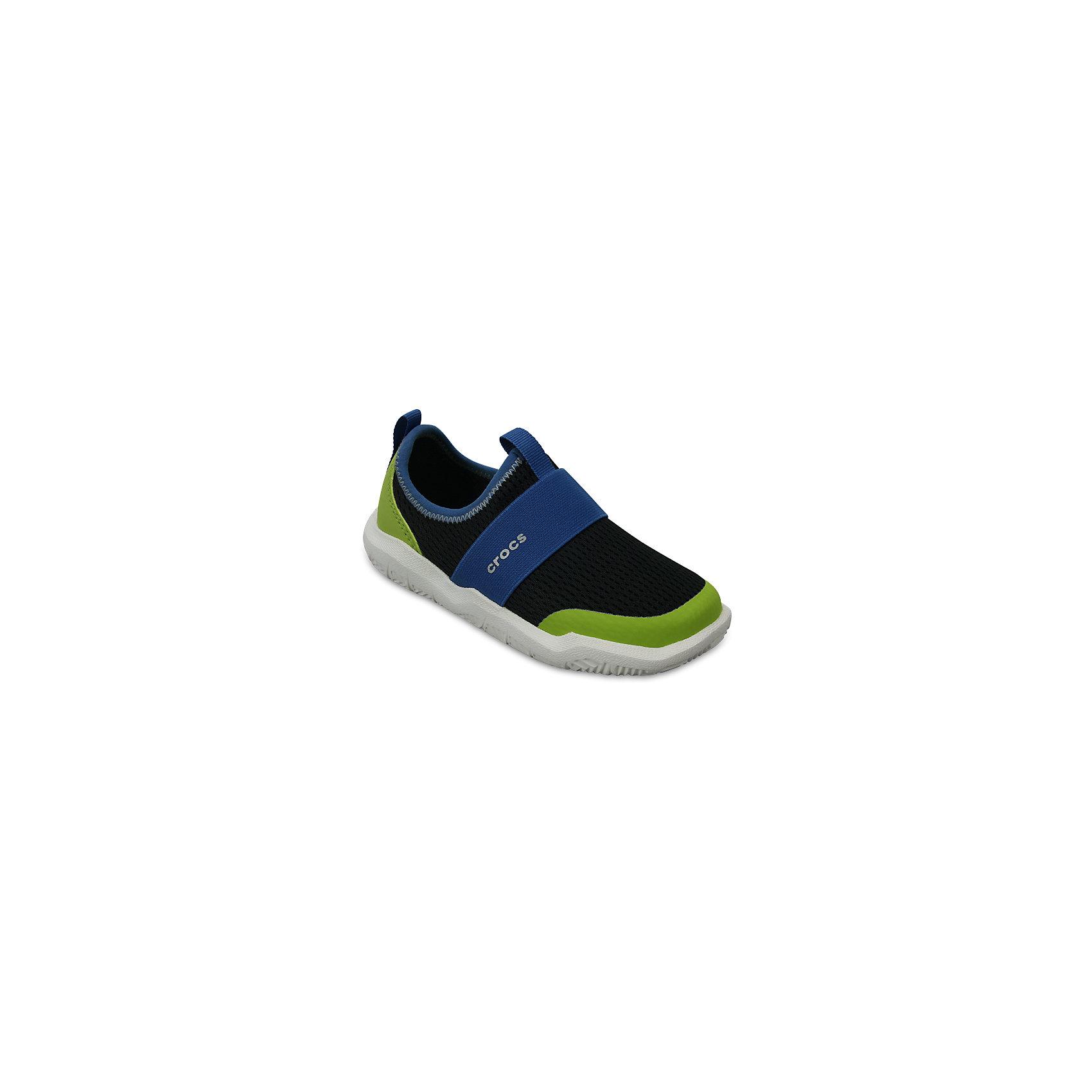 Кроссовки Kids Swiftwater Easy-On Shoes, черный, зеленыйКроссовки<br>Характеристики:<br><br>• цвет: черный, зеленый<br>• материал: верх - текстиль, низ - 100% полимер Croslite™<br>• дышащая сетка-меш для удобства надевания и снимания<br>• модная эластичная вставка сверху<br>• сезон: демисезон, лето<br>• легкий сетчатый материал; носок усилен тканью <br>• эластичный ремешок для более удобной посадки и надежной фиксации<br>• петля на заднике для удобства надевания<br>• стелька Croslite™<br><br>Продукция Crocs - это качественные товары, созданные с применением новейших технологий. <br><br>Обувь отличается стильным дизайном и продуманной конструкцией. <br><br>Изделие производится из качественных и проверенных материалов, которые безопасны для детей.<br><br>Кроссовки Kids Swiftwater Easy-On Shoes от торговой марки Crocs можно купить в нашем интернет-магазине.<br><br>Ширина мм: 250<br>Глубина мм: 150<br>Высота мм: 150<br>Вес г: 250<br>Цвет: черный<br>Возраст от месяцев: 36<br>Возраст до месяцев: 48<br>Пол: Унисекс<br>Возраст: Детский<br>Размер: 27,34/35,28,29,30,23,24,25,26,31/32,33/34<br>SKU: 5417093