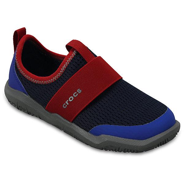 Кроссовки Kids Swiftwater Easy-On Shoes, черный, синийКроссовки<br>Характеристики:<br><br>• цвет: черный, синий<br>• материал: верх - текстиль, низ - 100% полимер Croslite™<br>• дышащая сетка-меш для удобства надевания и снимания<br>• модная эластичная вставка сверху<br>• сезон: демисезон, лето<br>• легкий сетчатый материал; носок усилен тканью <br>• эластичный ремешок для более удобной посадки и надежной фиксации<br>• петля на заднике для удобства надевания<br>• стелька Croslite™<br><br>Продукция Crocs - это качественные товары, созданные с применением новейших технологий. <br><br>Обувь отличается стильным дизайном и продуманной конструкцией. <br><br>Изделие производится из качественных и проверенных материалов, которые безопасны для детей.<br><br>Кроссовки Kids Swiftwater Easy-On Shoes от торговой марки Crocs можно купить в нашем интернет-магазине.<br><br>Ширина мм: 250<br>Глубина мм: 150<br>Высота мм: 150<br>Вес г: 250<br>Цвет: синий<br>Возраст от месяцев: 18<br>Возраст до месяцев: 21<br>Пол: Унисекс<br>Возраст: Детский<br>Размер: 23,27,28,29,30,24,25,26,31/32,33/34,34/35<br>SKU: 5417105