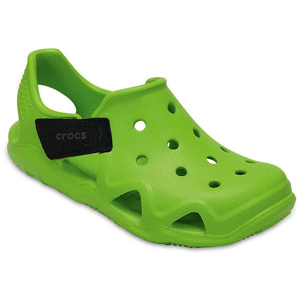 Сандалии CROCS Kids Swiftwater Wave, зеленыйСандалии<br>Характеристики:<br><br>• Цвет: зеленый<br>•Традиционный комфорт Crocs<br>• Амортизация и поддержка стопы<br>• материал: Croslite™<br>• Полностью литая модель<br>• Отверстия для крепления Jibbitz<br>• Легко надевать и снимать<br><br>Комфортная и яркая модель, которую легко обувать. <br><br>Сандалии имеют регулируемый ремешок для более удобной посадки и надежной фиксации.<br><br>Материал, из которого они сделаны, не дает размножаться бактериям, поэтому такая обувь препятствует образованию неприятного запаха и появлению болезней стоп. <br><br>Сандалии Swiftwater Wave от торговой марки Crocs можно купить в нашем интернет-магазине.<br><br>Ширина мм: 219<br>Глубина мм: 154<br>Высота мм: 121<br>Вес г: 343<br>Цвет: зеленый<br>Возраст от месяцев: 132<br>Возраст до месяцев: 144<br>Пол: Унисекс<br>Возраст: Детский<br>Размер: 34/35,27,28,29,30,23,24,25,26,31/32,33/34<br>SKU: 5417177