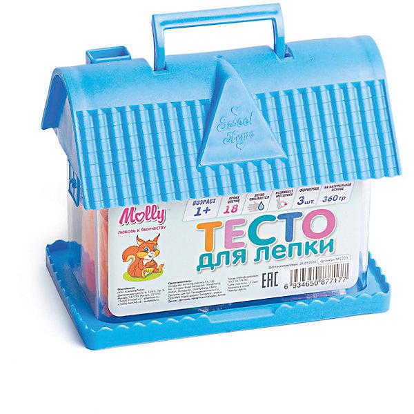 Тесто для лепки Домик 18 цветов + 3 формочкиТесто для лепки<br>Тесто для лепки Домик, 18 цветов + 3 формочки.<br><br>Характеристика: <br><br>• Материал: пшеничная мука крахмал, вода, соль, пищевая добавка, пищевая краситель; пластик. <br>• Размер упаковки: 14х11х8 см. <br>• Комплектация: тесто для лепки 18 цветов + 3 формочки.<br>• Яркие, насыщенные цвета. <br>• 18 цветов (по 20 гр.)<br>• Легко смывается с одежды и рук. <br>• Безопасно при проглатывании. <br>• Отлично развивает моторику рук, внимание, мышление и воображение. <br>• Удобная упаковка в виде пластикового домика с ручкой для переноски.<br><br>Мягкое тесто для лепки - отличный подарок для малыша. Тесто изготовлено из натуральных материалов, с использованием абсолютно безопасных для детей красителей, легко смывается с одежды и рук. Лепка - прекрасный вид детского досуга, помогающий развить мелкую моторику, цветовосприятие, воображение и мышление.<br><br>Тесто для лепки Домик, 18 цветов + 3 формочки, можно купить в нашем интернет-магазине.<br><br>Ширина мм: 140<br>Глубина мм: 80<br>Высота мм: 110<br>Вес г: 360<br>Возраст от месяцев: 12<br>Возраст до месяцев: 36<br>Пол: Унисекс<br>Возраст: Детский<br>SKU: 5417575