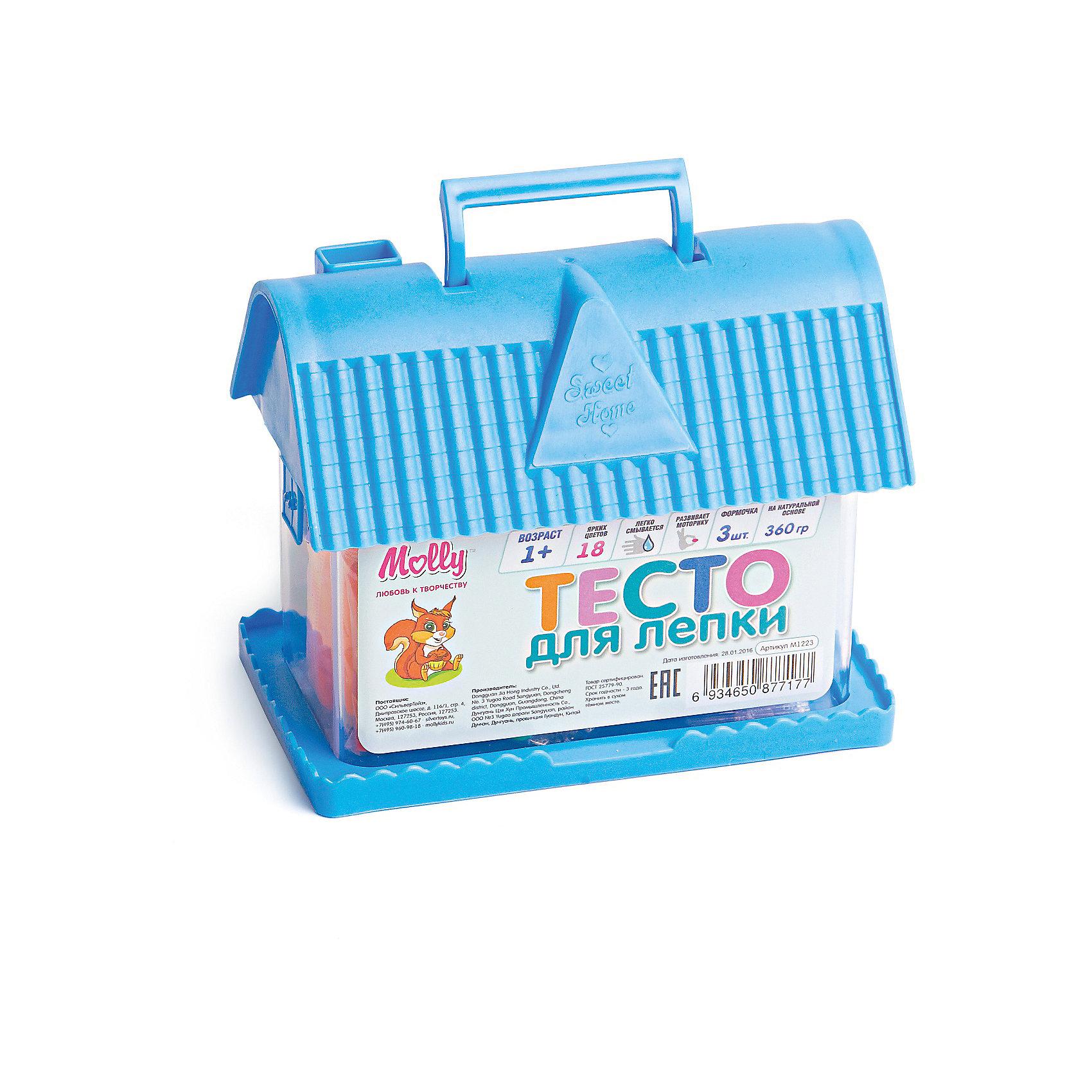 Тесто для лепки Домик 18 цветов + 3 формочкиЛепка<br>Тесто для лепки Домик, 18 цветов + 3 формочки.<br><br>Характеристика: <br><br>• Материал: пшеничная мука крахмал, вода, соль, пищевая добавка, пищевая краситель; пластик. <br>• Размер упаковки: 14х11х8 см. <br>• Комплектация: тесто для лепки 18 цветов + 3 формочки.<br>• Яркие, насыщенные цвета. <br>• 18 цветов (по 20 гр.)<br>• Легко смывается с одежды и рук. <br>• Безопасно при проглатывании. <br>• Отлично развивает моторику рук, внимание, мышление и воображение. <br>• Удобная упаковка в виде пластикового домика с ручкой для переноски.<br><br>Мягкое тесто для лепки - отличный подарок для малыша. Тесто изготовлено из натуральных материалов, с использованием абсолютно безопасных для детей красителей, легко смывается с одежды и рук. Лепка - прекрасный вид детского досуга, помогающий развить мелкую моторику, цветовосприятие, воображение и мышление.<br><br>Тесто для лепки Домик, 18 цветов + 3 формочки, можно купить в нашем интернет-магазине.<br><br>Ширина мм: 140<br>Глубина мм: 80<br>Высота мм: 110<br>Вес г: 360<br>Возраст от месяцев: 12<br>Возраст до месяцев: 36<br>Пол: Унисекс<br>Возраст: Детский<br>SKU: 5417575