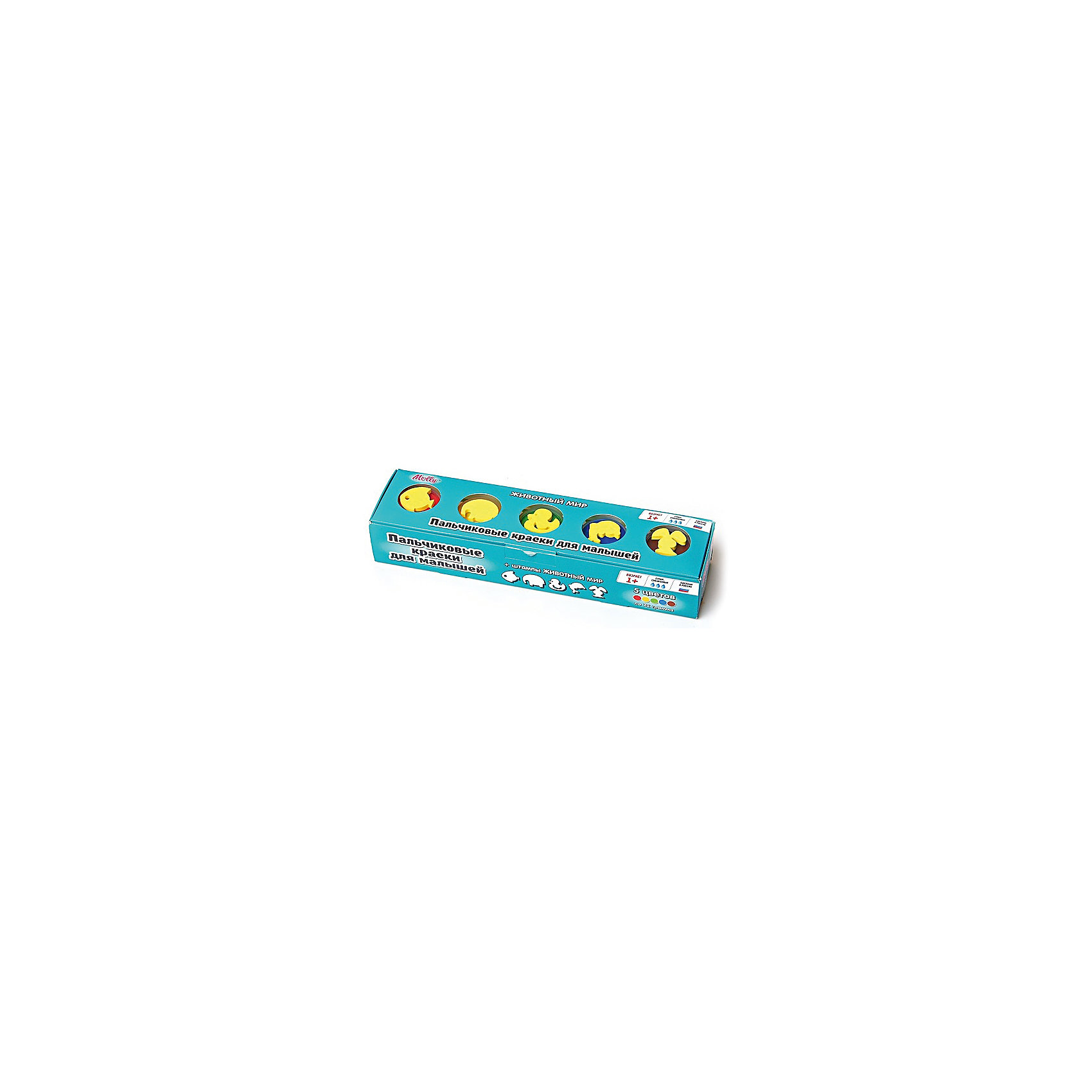 Пальчиковые краски Животный мир со штампиками, 5 цветовРисование<br>Пальчиковые краски Животный мир со штампиками, 5 цветов.<br><br>Характеристика: <br><br>• Материал: пищевой краситель, целлюлозный загуститель, глицерин, мел, консервант косметический, вода питьевая. <br>• Размер упаковки: 24х6х4 см.<br>• Объем баночки: 22 мл.<br>• Количество цветов: 5.<br>• Комплектация: 5 баночек с краской, 5 штампиков. <br>• Яркие, насыщенные цвета. <br>• Краска легко смывается с одежды и рук. <br>• Безопасна при проглатывании. <br>• Отлично развивает моторику рук, внимание, мышление и воображение. <br>• Оригинальный фигурные штампики. <br><br>Пальчиковые краски - идеальный вариант для самых юных и активных художников! Краски изготовлены их высококачественных нетоксичных материалов абсолютно безопасных для малышей. Яркие цвета и оригинальные штампики-трафареты обязательно заинтересуют кроху и подарят множество приятных творческих моментов!<br><br>Рисование - прекрасный вид детского досуга. В процессе художественной деятельности ребенок развивает моторику рук, цветовосприятие, фантазию и усидчивость, получая при этом море положительных эмоций. <br><br>Пальчиковые краски Животный мир со штампиками, 5 цветов, можно купить в нашем интернет-магазине.<br><br>Ширина мм: 24<br>Глубина мм: 6<br>Высота мм: 4<br>Вес г: 110<br>Возраст от месяцев: 12<br>Возраст до месяцев: 36<br>Пол: Унисекс<br>Возраст: Детский<br>SKU: 5417576