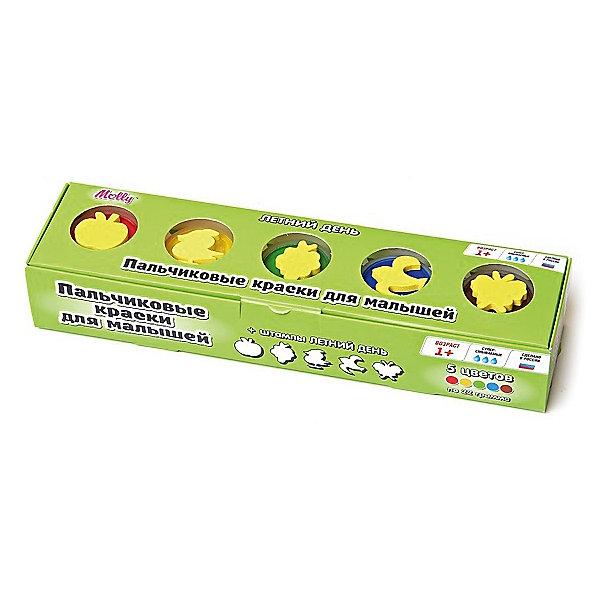 Пальчиковые краски Летний день со штампиками, 5 цветовПальчиковые краски<br>Пальчиковые краски Летний день со штампиками, 5 цветов.<br><br>Характеристика: <br><br>• Материал: пищевой краситель, целлюлозный загуститель, глицерин, мел, консервант косметический, вода питьевая. <br>• Размер упаковки: 24х6х4 см.<br>• Объем баночки: 22 мл.<br>• Количество цветов: 5.<br>• Комплектация: 5 баночек с краской, 5 штампиков. <br>• Яркие, насыщенные цвета. <br>• Краска легко смывается с одежды и рук. <br>• Безопасна при проглатывании. <br>• Отлично развивает моторику рук, внимание, мышление и воображение. <br>• Оригинальный фигурные штампики. <br><br>Пальчиковые краски - идеальный вариант для самых юных и активных художников! Краски изготовлены их высококачественных нетоксичных материалов абсолютно безопасных для малышей. Яркие цвета и оригинальные штампики-трафареты обязательно заинтересуют кроху и подарят множество приятных творческих моментов!<br><br>Рисование - прекрасный вид детского досуга. В процессе художественной деятельности ребенок развивает моторику рук, цветовосприятие, фантазию и усидчивость, получая при этом море положительных эмоций. <br><br>Пальчиковые краски Летний день со штампиками, 5 цветов, можно купить в нашем интернет-магазине.<br>Ширина мм: 24; Глубина мм: 6; Высота мм: 4; Вес г: 110; Возраст от месяцев: 12; Возраст до месяцев: 36; Пол: Унисекс; Возраст: Детский; SKU: 5417577;