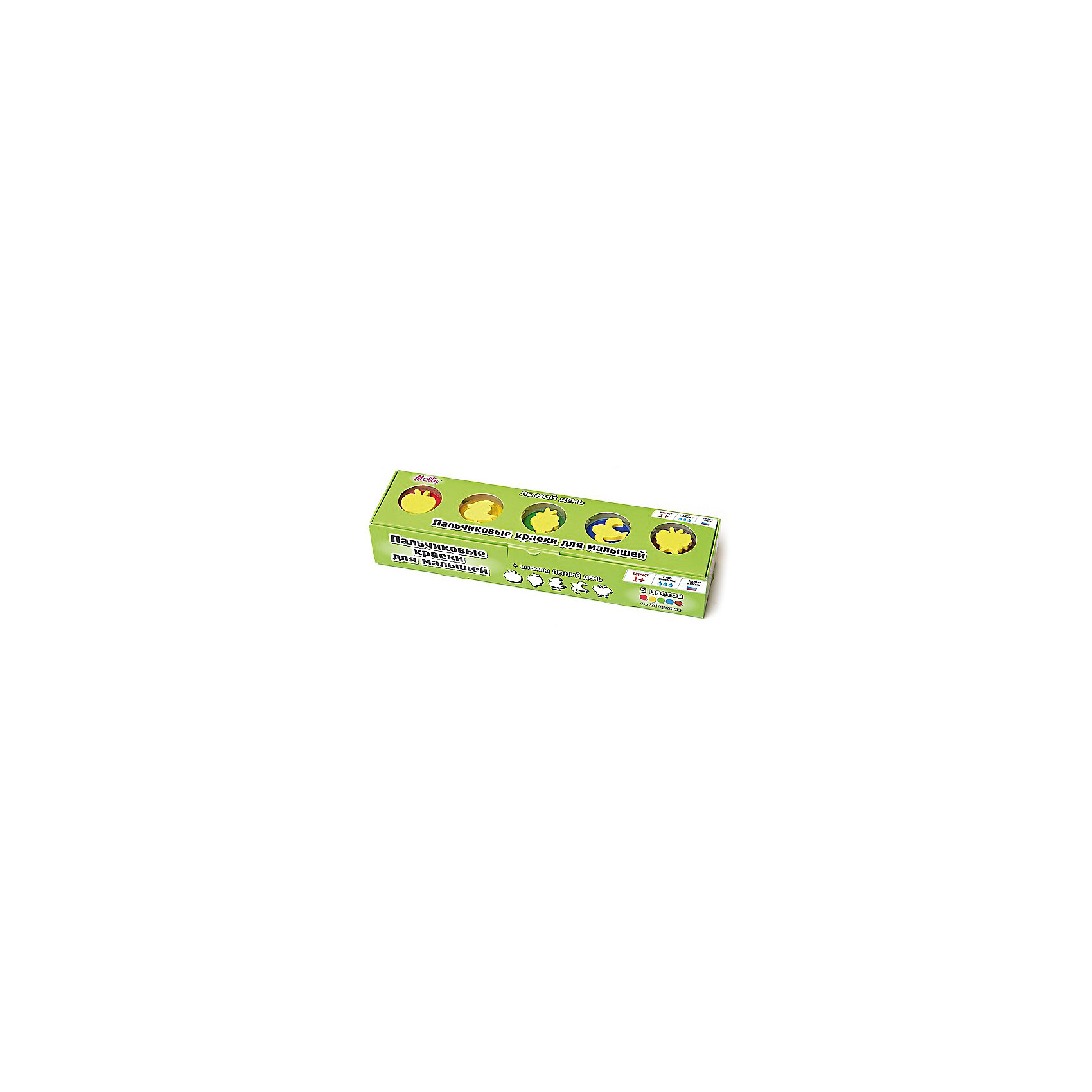 Пальчиковые краски Летний день со штампиками, 5 цветовПальчиковые краски Летний день со штампиками, 5 цветов.<br><br>Характеристика: <br><br>• Материал: пищевой краситель, целлюлозный загуститель, глицерин, мел, консервант косметический, вода питьевая. <br>• Размер упаковки: 24х6х4 см.<br>• Объем баночки: 22 мл.<br>• Количество цветов: 5.<br>• Комплектация: 5 баночек с краской, 5 штампиков. <br>• Яркие, насыщенные цвета. <br>• Краска легко смывается с одежды и рук. <br>• Безопасна при проглатывании. <br>• Отлично развивает моторику рук, внимание, мышление и воображение. <br>• Оригинальный фигурные штампики. <br><br>Пальчиковые краски - идеальный вариант для самых юных и активных художников! Краски изготовлены их высококачественных нетоксичных материалов абсолютно безопасных для малышей. Яркие цвета и оригинальные штампики-трафареты обязательно заинтересуют кроху и подарят множество приятных творческих моментов!<br><br>Рисование - прекрасный вид детского досуга. В процессе художественной деятельности ребенок развивает моторику рук, цветовосприятие, фантазию и усидчивость, получая при этом море положительных эмоций. <br><br>Пальчиковые краски Летний день со штампиками, 5 цветов, можно купить в нашем интернет-магазине.<br><br>Ширина мм: 24<br>Глубина мм: 6<br>Высота мм: 4<br>Вес г: 110<br>Возраст от месяцев: 12<br>Возраст до месяцев: 36<br>Пол: Унисекс<br>Возраст: Детский<br>SKU: 5417577