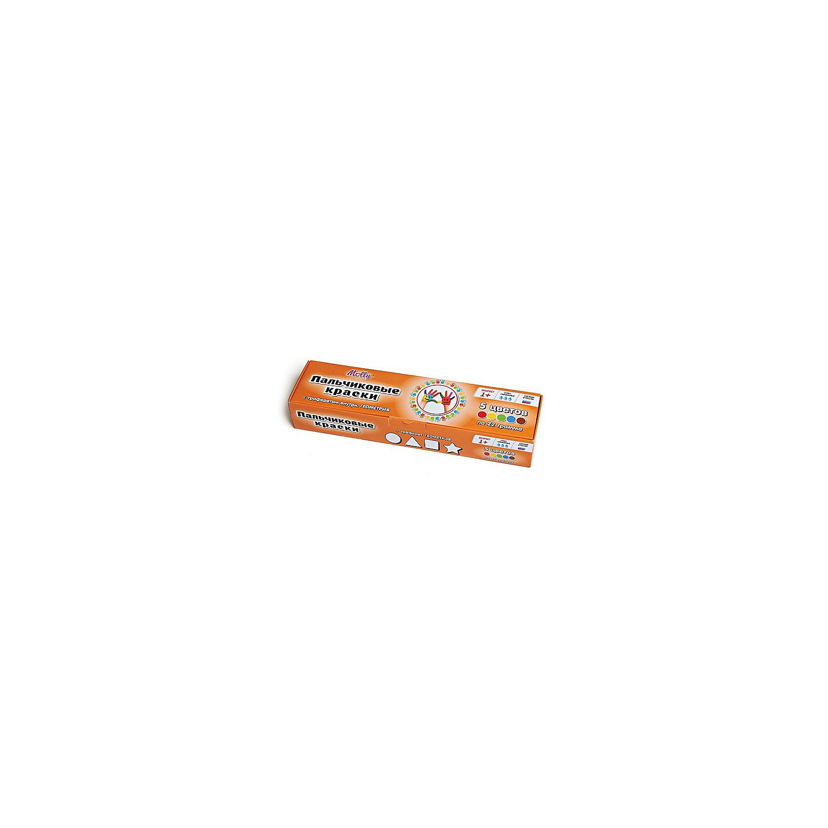 Пальчиковые краски Геометрия с трафаретом, 5 цветовПальчиковые краски Геометрия с трафаретом, 5 цветов.<br><br>Характеристика: <br><br>• Материал: пищевой краситель, целлюлозный загуститель, глицерин, мел, консервант косметический, вода питьевая. <br>• Размер упаковки: 24,5х6,5х4,5 см.<br>• Объем баночки: 22 мл.<br>• Количество цветов: 5 (коричневый, зеленый, синий, красный, желтый).<br>• Комплектация: 5 баночек с краской, тематический трафарет.<br>• Яркие, насыщенные цвета. <br>• Краска легко смывается с одежды и рук. <br>• Безопасна при проглатывании. <br>• Отлично развивает моторику рук, внимание, мышление и воображение. <br>• Оригинальный фигурные штампики. <br><br>Пальчиковые краски - идеальный вариант для самых юных и активных художников! Краски изготовлены их высококачественных нетоксичных материалов абсолютно безопасных для малышей. Яркие цвета и оригинальный тематический трафарет обязательно заинтересуют кроху и подарят множество приятных творческих моментов!<br><br>Рисование - прекрасный вид детского досуга практически в любом возрасте. В процессе художественной деятельности ребенок развивает моторику рук, цветовосприятие, фантазию и усидчивость, получая при этом море положительных эмоций. <br><br>Пальчиковые краски Геометрия с трафаретом, 5 цветов, можно купить в нашем интернет-магазине.<br><br>Ширина мм: 24<br>Глубина мм: 6<br>Высота мм: 4<br>Вес г: 110<br>Возраст от месяцев: 12<br>Возраст до месяцев: 36<br>Пол: Унисекс<br>Возраст: Детский<br>SKU: 5417578