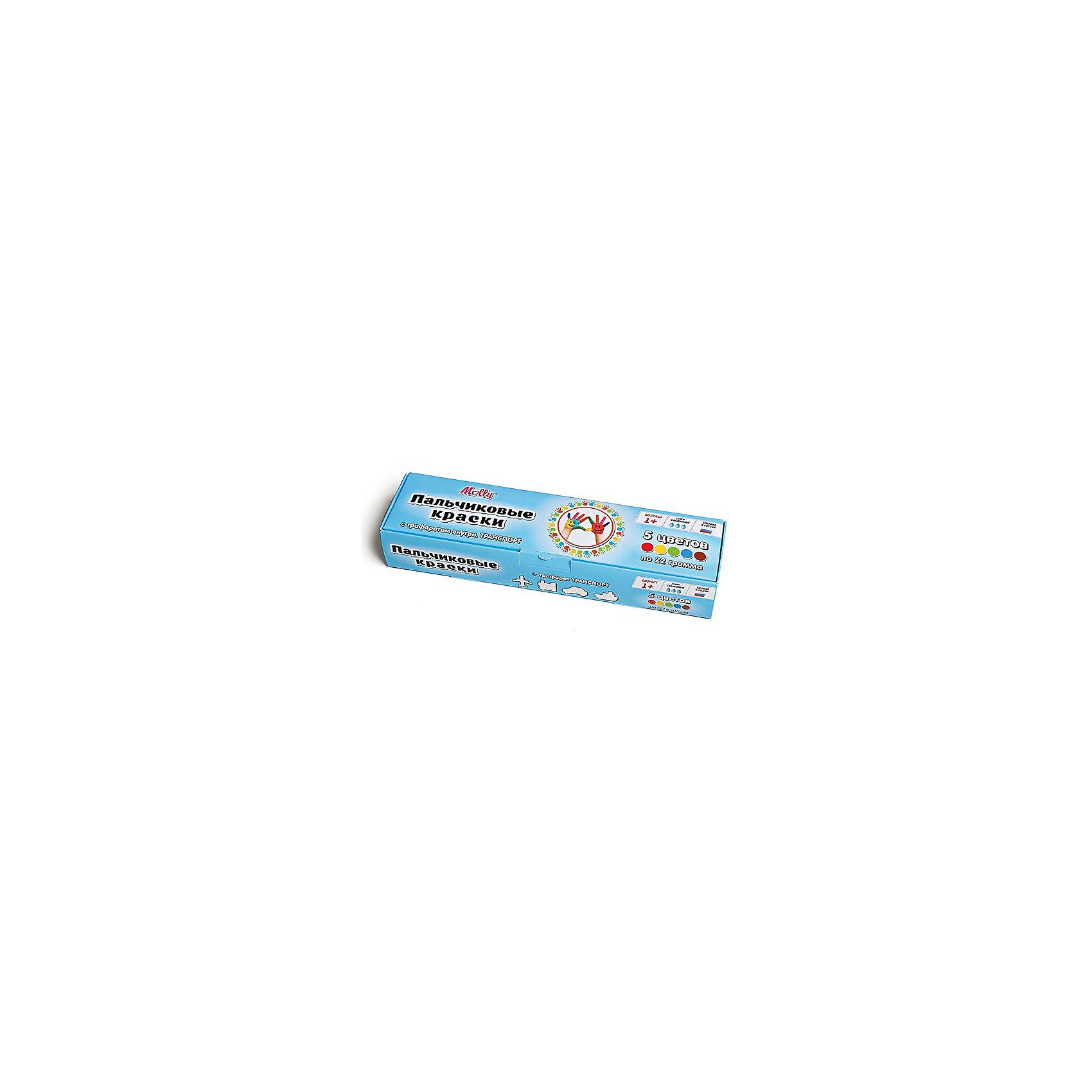 Пальчиковые краски Транспорт с трафаретом, 5 цветовРисование<br>Пальчиковые краски Транспорт с трафаретом, 5 цветов.<br><br>Характеристика: <br><br>• Материал: пищевой краситель, целлюлозный загуститель, глицерин, мел, консервант косметический, вода питьевая. <br>• Размер упаковки: 24,5х6,5х4,5 см.<br>• Объем баночки: 22 мл.<br>• Количество цветов: 5 (коричневый, зеленый, синий, красный, желтый).<br>• Комплектация: 5 баночек с краской, тематический трафарет.<br>• Яркие, насыщенные цвета. <br>• Краска легко смывается с одежды и рук. <br>• Безопасна при проглатывании. <br>• Отлично развивает моторику рук, внимание, мышление и воображение. <br>• Оригинальный фигурные штампики. <br><br>Пальчиковые краски - идеальный вариант для самых юных и активных художников! Краски изготовлены их высококачественных нетоксичных материалов абсолютно безопасных для малышей. Яркие цвета и оригинальный тематический трафарет обязательно заинтересуют кроху и подарят множество приятных творческих моментов!<br><br>Рисование - прекрасный вид детского досуга практически в любом возрасте. В процессе художественной деятельности ребенок развивает моторику рук, цветовосприятие, фантазию и усидчивость, получая при этом море положительных эмоций. <br><br>Пальчиковые краски Транспорт с трафаретом, 5 цветов, можно купить в нашем интернет-магазине.<br><br>Ширина мм: 24<br>Глубина мм: 6<br>Высота мм: 4<br>Вес г: 110<br>Возраст от месяцев: 12<br>Возраст до месяцев: 36<br>Пол: Унисекс<br>Возраст: Детский<br>SKU: 5417579