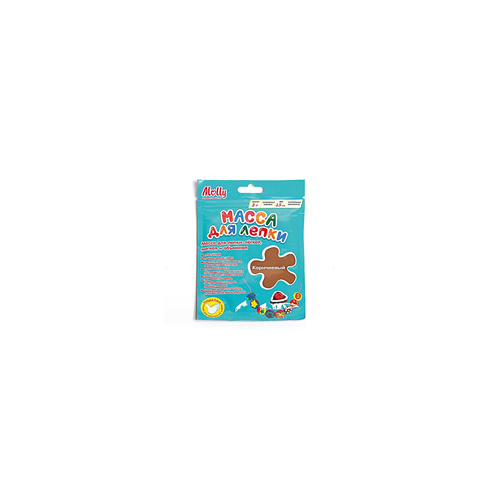 Масса для лепки 15 г, коричневаяМасса для лепки<br>Характеристики товара:<br><br>• материал упаковки: пластик <br>• в комплект входит: масса для лепки<br>• количество цветов: 1<br>• возраст: от 3 лет<br>• габариты упаковки: 10х0,8х15 см<br>• вес: 15 г<br>• страна производитель: Россия<br><br>Работа с материалами для лепки благотворно влияет на развитие малыша. Лепка развивает тактильные восприятия, работает с мелкой моторикой и творческими способностями. Итог лепки – яркая и необычная игрушка, сделанная своими руками. Материалы, использованные при изготовлении товаров, проходят проверку на качество и соответствие международным требованиям по безопасности.<br><br>Готовые поделки можно высушить на открытом воздухе в течение 12-36 часов без применения обжига. При этом масса не трескается и не крошится. <br><br>Массу для лепки 15 г, коричневая можно купить в нашем интернет-магазине.<br><br>Ширина мм: 100<br>Глубина мм: 8<br>Высота мм: 150<br>Вес г: 15<br>Возраст от месяцев: 36<br>Возраст до месяцев: 2147483647<br>Пол: Унисекс<br>Возраст: Детский<br>SKU: 5417587