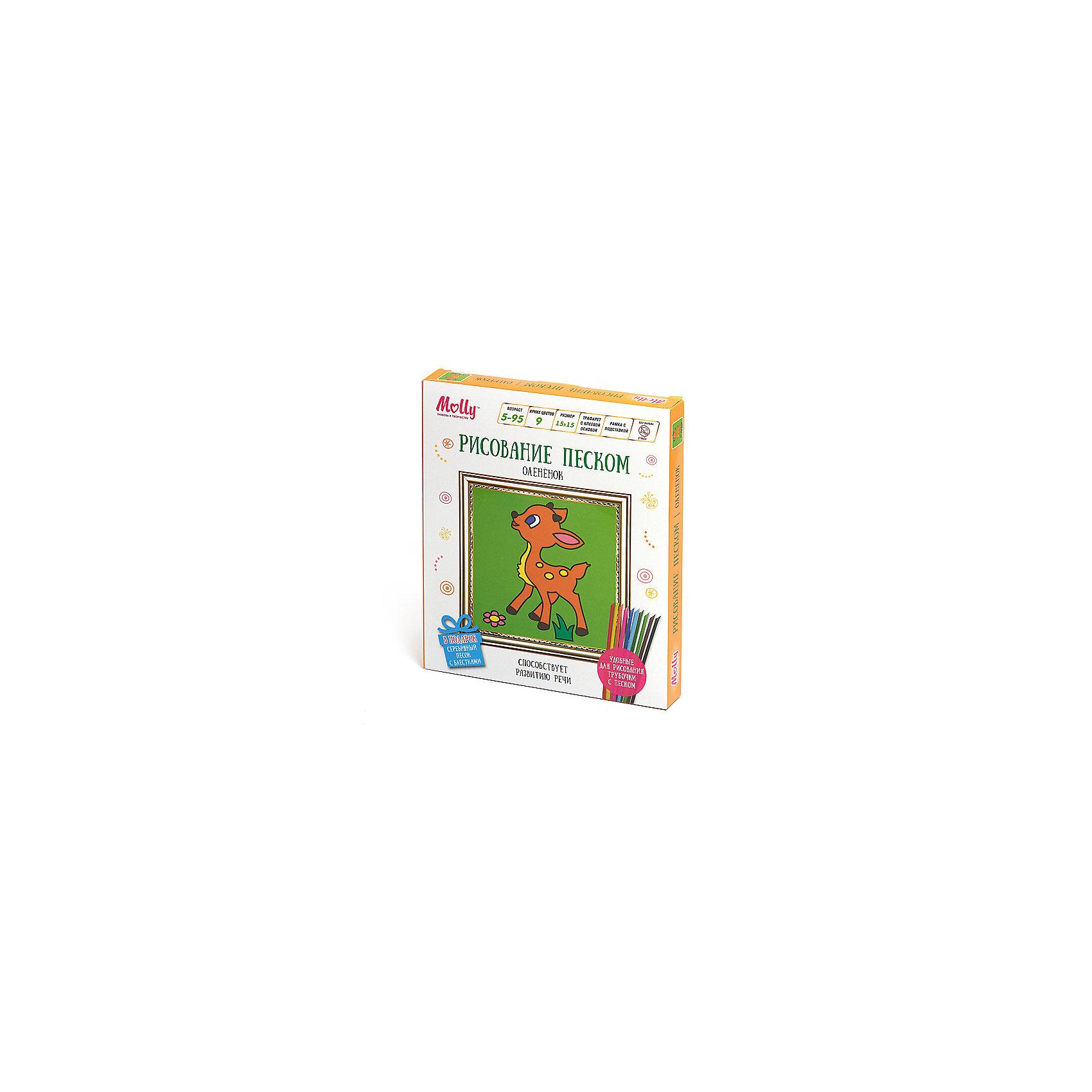 Рисование песком ОленёнокПесочные картинки<br>Характеристики товара:<br><br>• материал упаковки: картон <br>• в комплект входит: холст с клеевой основой и пластиковой рамкой, трубочки с песком – 9 шт<br>• размер холста: 15х15 см<br>• возраст: от 5 лет<br>• вес: 160 г<br>• габариты упаковки: 18,5х2,5х22 см<br>• страна производитель: Китай<br><br>Рисование песком – интересное и необычное занятие. Новые материалы быстро привлекут внимание ребенка, улучшат его мелкую моторику, аккуратность и творческие способности. В наборе есть все необходимое для творчества и подробная инструкция. Материалы, использованные при изготовлении товаров, проходят проверку на качество и соответствие международным требованиям по безопасности.<br><br>Рисование песком Оленёнок можно купить в нашем интернет-магазине.<br><br>Ширина мм: 185<br>Глубина мм: 25<br>Высота мм: 220<br>Вес г: 160<br>Возраст от месяцев: 60<br>Возраст до месяцев: 2147483647<br>Пол: Унисекс<br>Возраст: Детский<br>SKU: 5417595