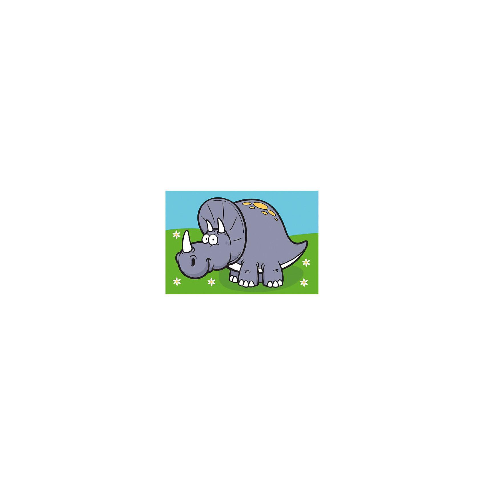 Раскраска по номерам Динозавр ЯрикДетские картины с раскраской по номерам размером 20*30. На деревянном подрамнике, с прогрунтованным холстом и  нанесенными контурами картины, с указанием цвета закраски, акриловыми красками, 3 кисточками и креплением на стену. Уровень сложности, количество красок указаны на коробке.<br><br>Ширина мм: 300<br>Глубина мм: 200<br>Высота мм: 30<br>Вес г: 330<br>Возраст от месяцев: 60<br>Возраст до месяцев: 108<br>Пол: Унисекс<br>Возраст: Детский<br>SKU: 5417625