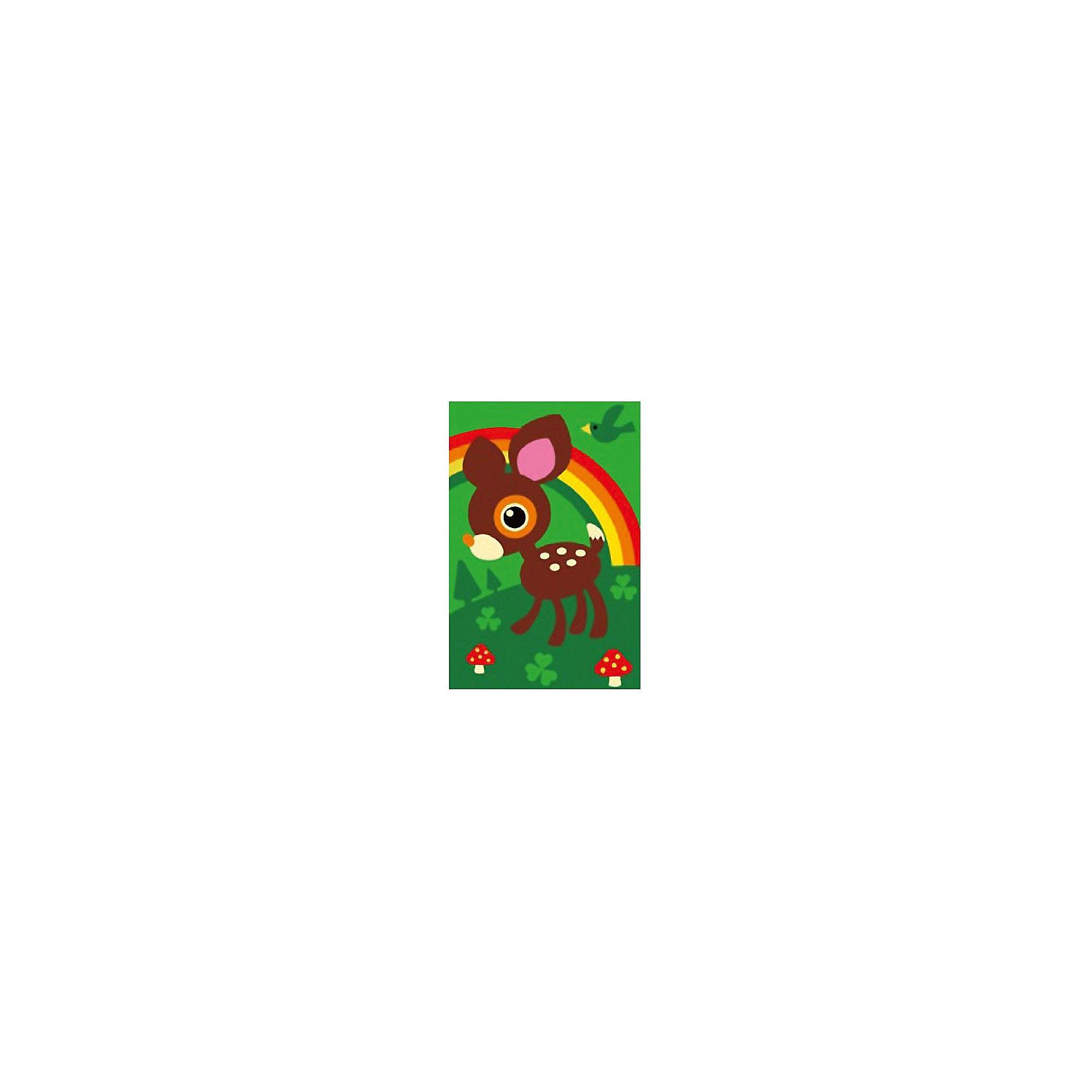 Набор юного художника Оленёнок, 20*30 смДетские картины с раскраской по номерам размером 20*30. На деревянном подрамнике, с прогрунтованным холстом и  нанесенными контурами картины, с указанием цвета закраски, акриловыми красками, 3 кисточками и креплением на стену. Уровень сложности, количество красок указаны на коробке.<br><br>Ширина мм: 300<br>Глубина мм: 200<br>Высота мм: 30<br>Вес г: 330<br>Возраст от месяцев: 60<br>Возраст до месяцев: 108<br>Пол: Унисекс<br>Возраст: Детский<br>SKU: 5417632